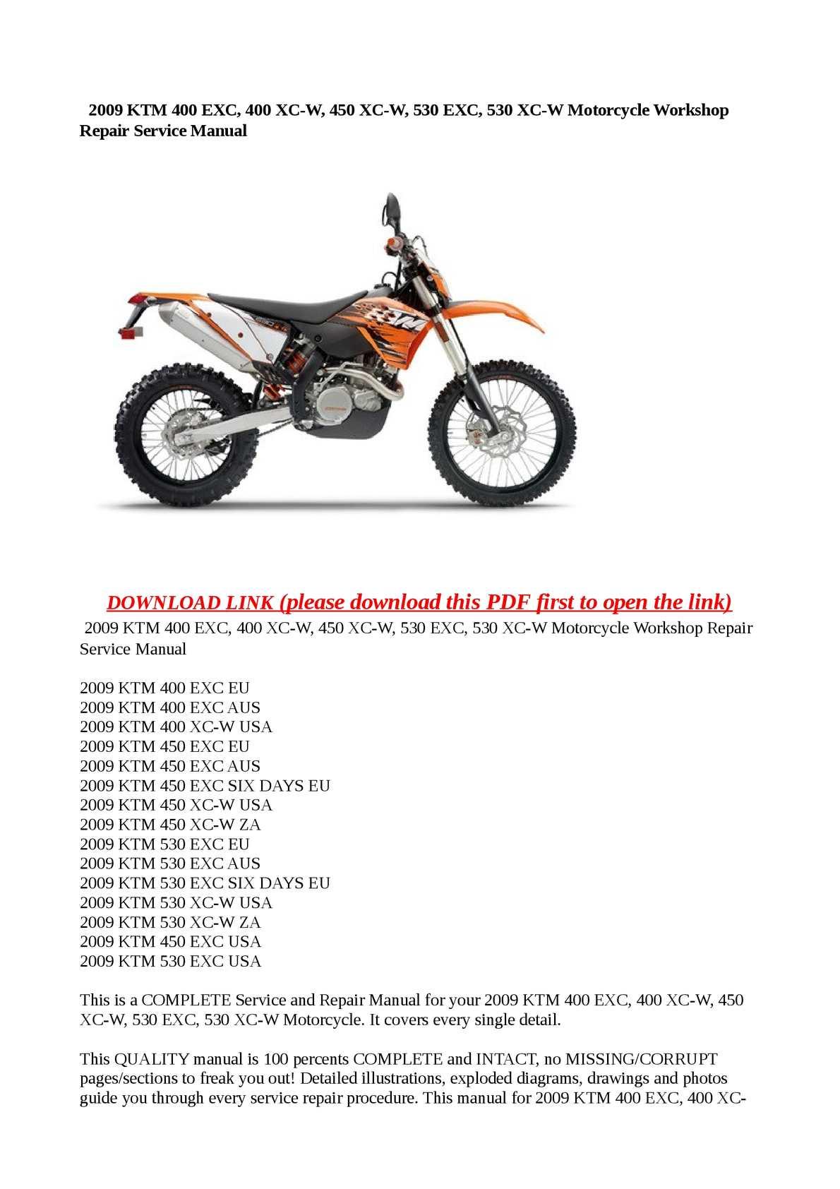 calam o 2009 ktm 400 exc 400 xc w 450 xc w 530 exc 530 xc w rh calameo com 2012 KTM 450 EXC 2008 KTM 450 EXC