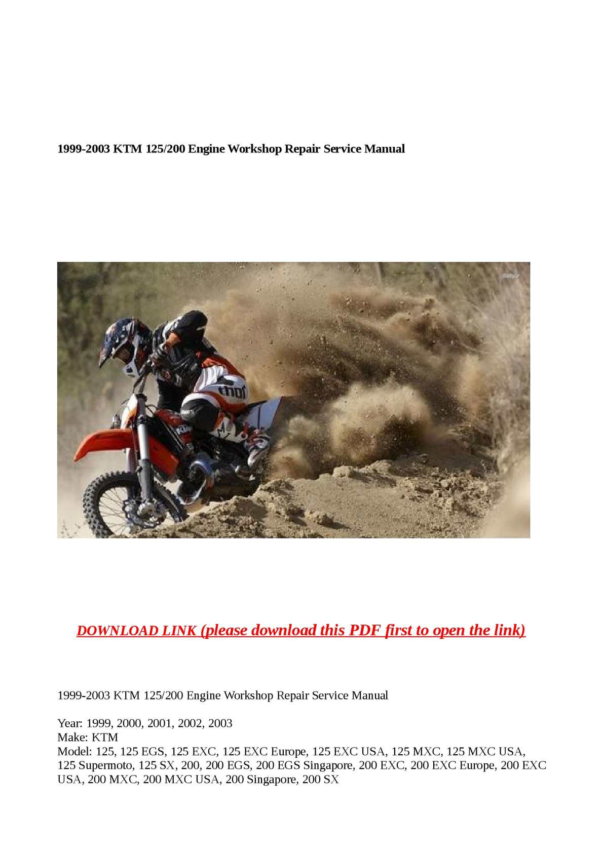 calam o 1999 2003 ktm 125 200 engine workshop repair service manual rh calameo com 2012 KTM 125 SX 2004 KTM 125 SX