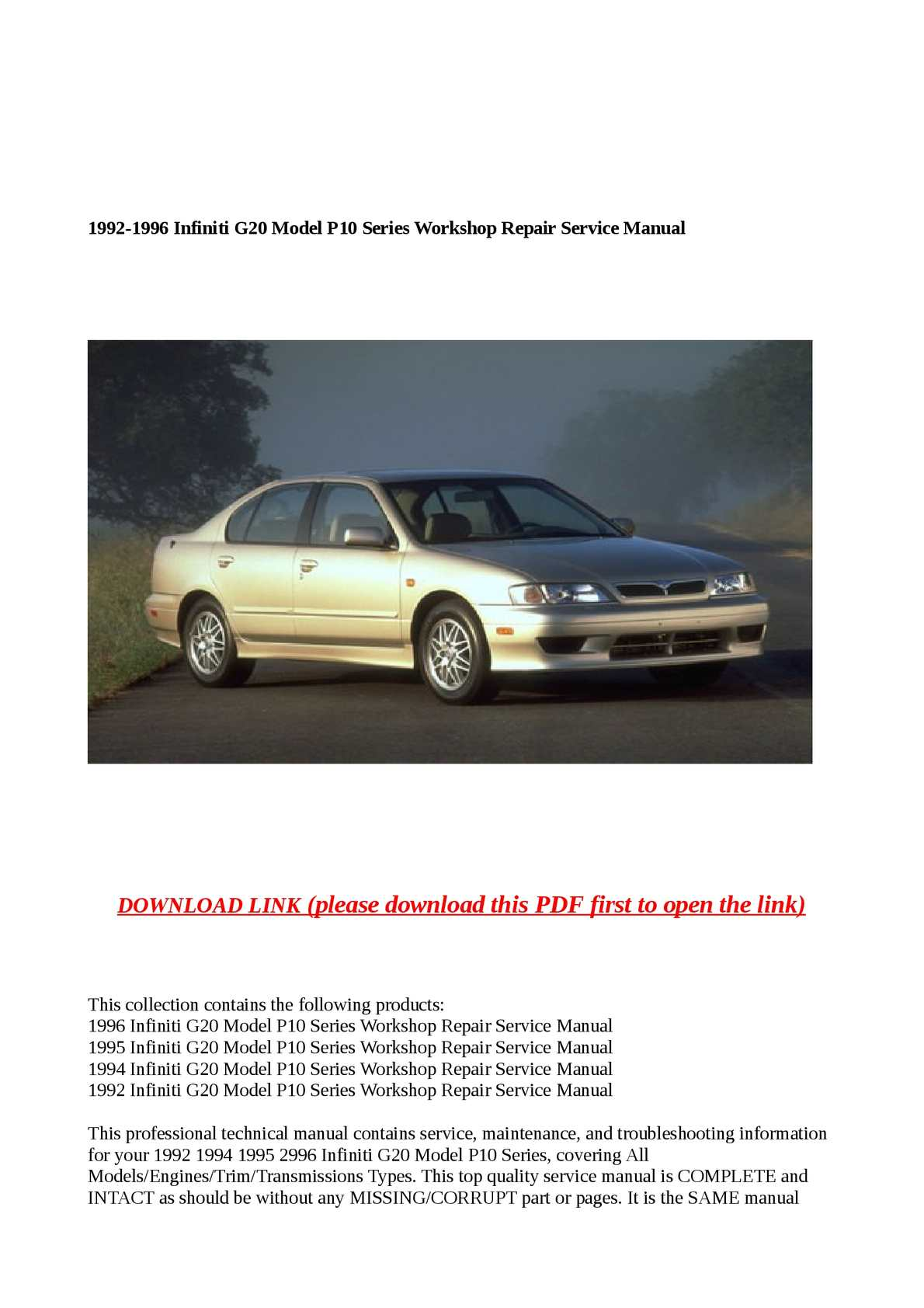 Calamo 1992 1996 Infiniti G20 Model P10 Series Workshop Repair 1995 Alternator Wiring Diagram Service Manual