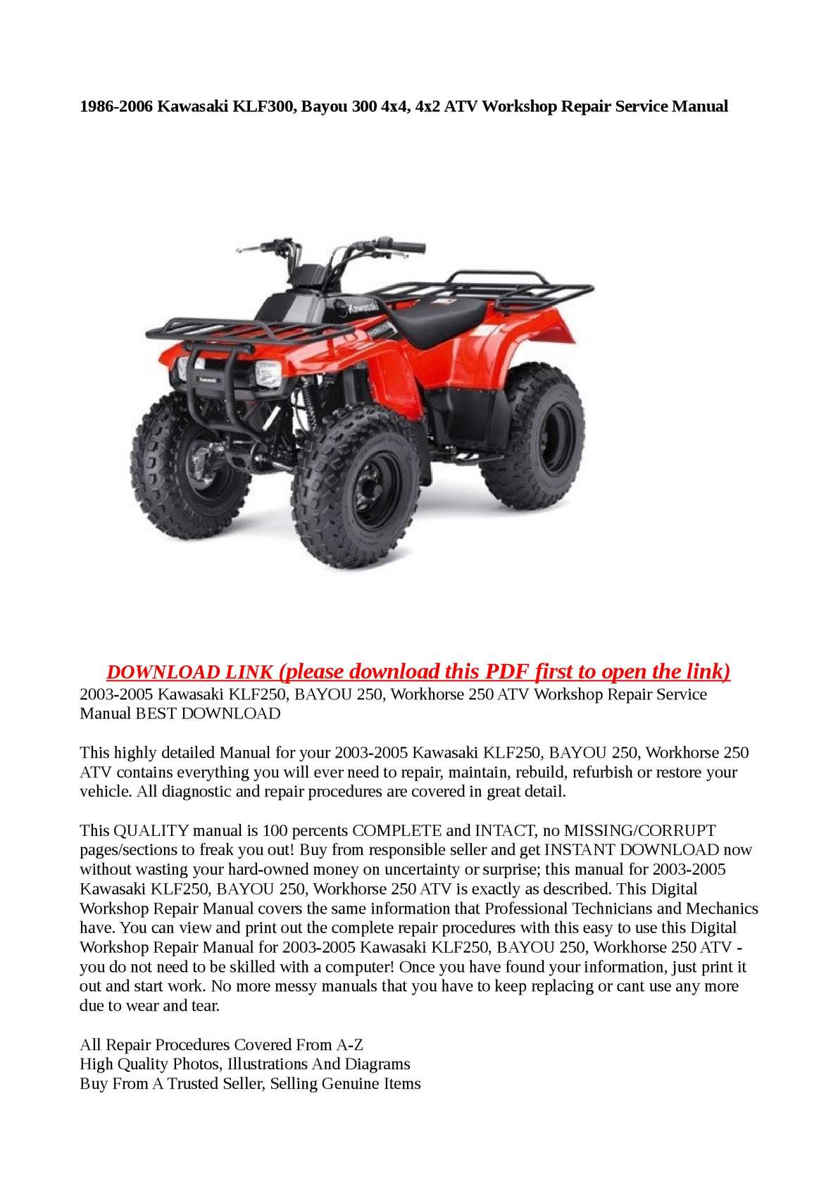 Calaméo - 1986-2006 Kawasaki KLF300, Bayou 300 4x4, 4x2 ATV Workshop Repair  Service Manual