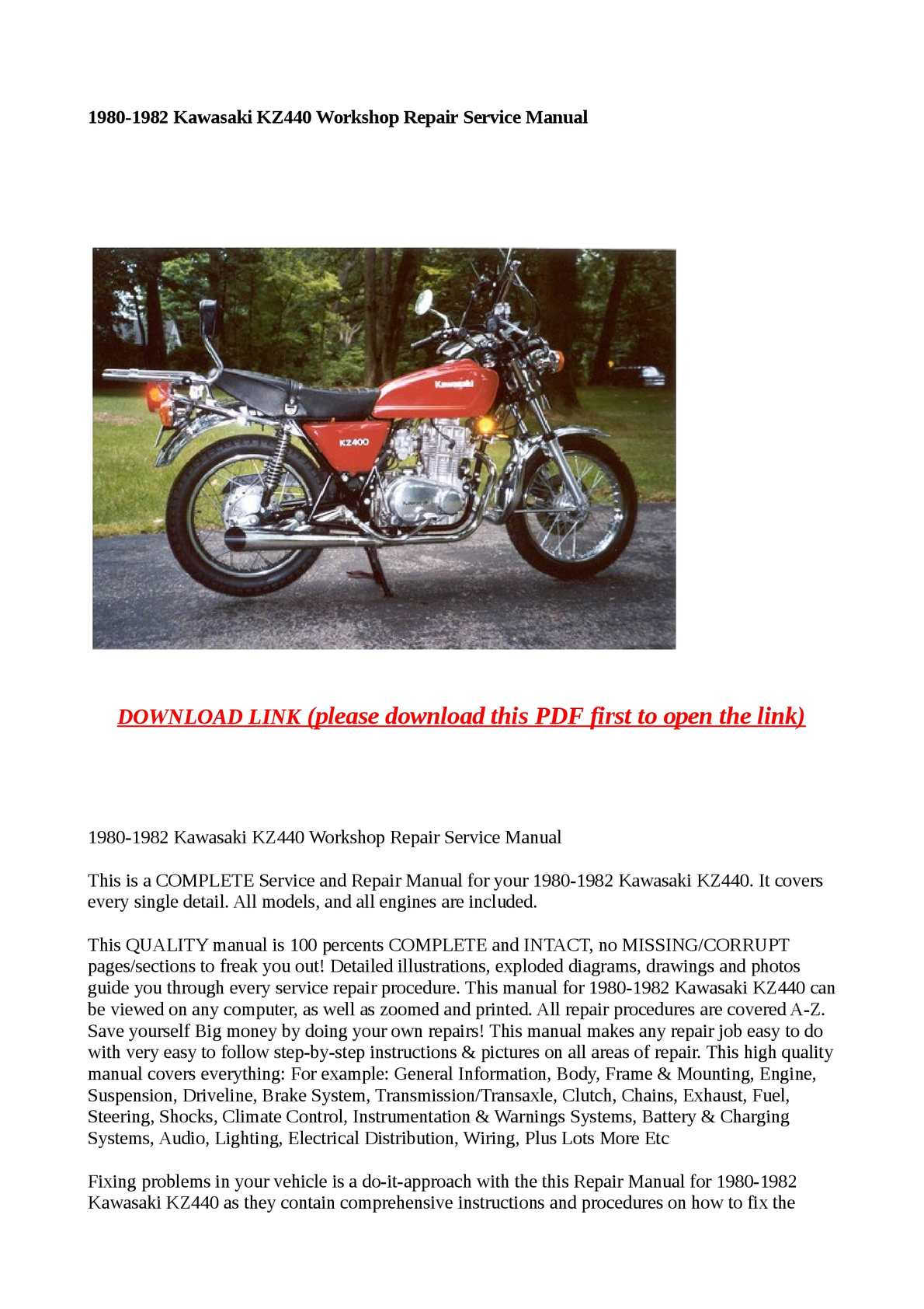 p1 calam�o 1980 1982 kawasaki kz440 workshop repair service manual 1980 Kawasaki KZ750 Wiring-Diagram at webbmarketing.co