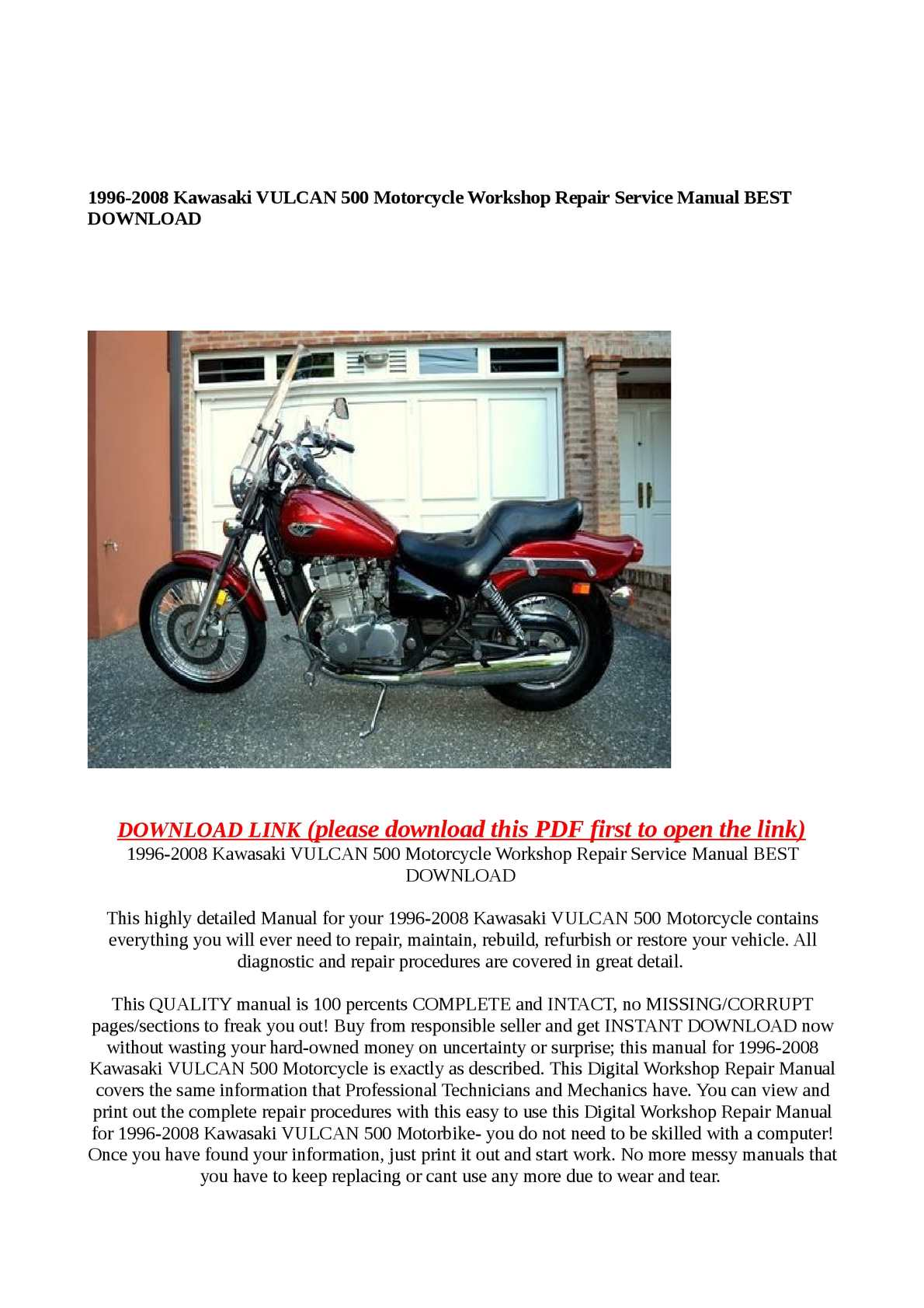 Calaméo - 1996-2008 Kawasaki VULCAN 500 Motorcycle Workshop Repair Service  Manual BEST DOWNLOAD
