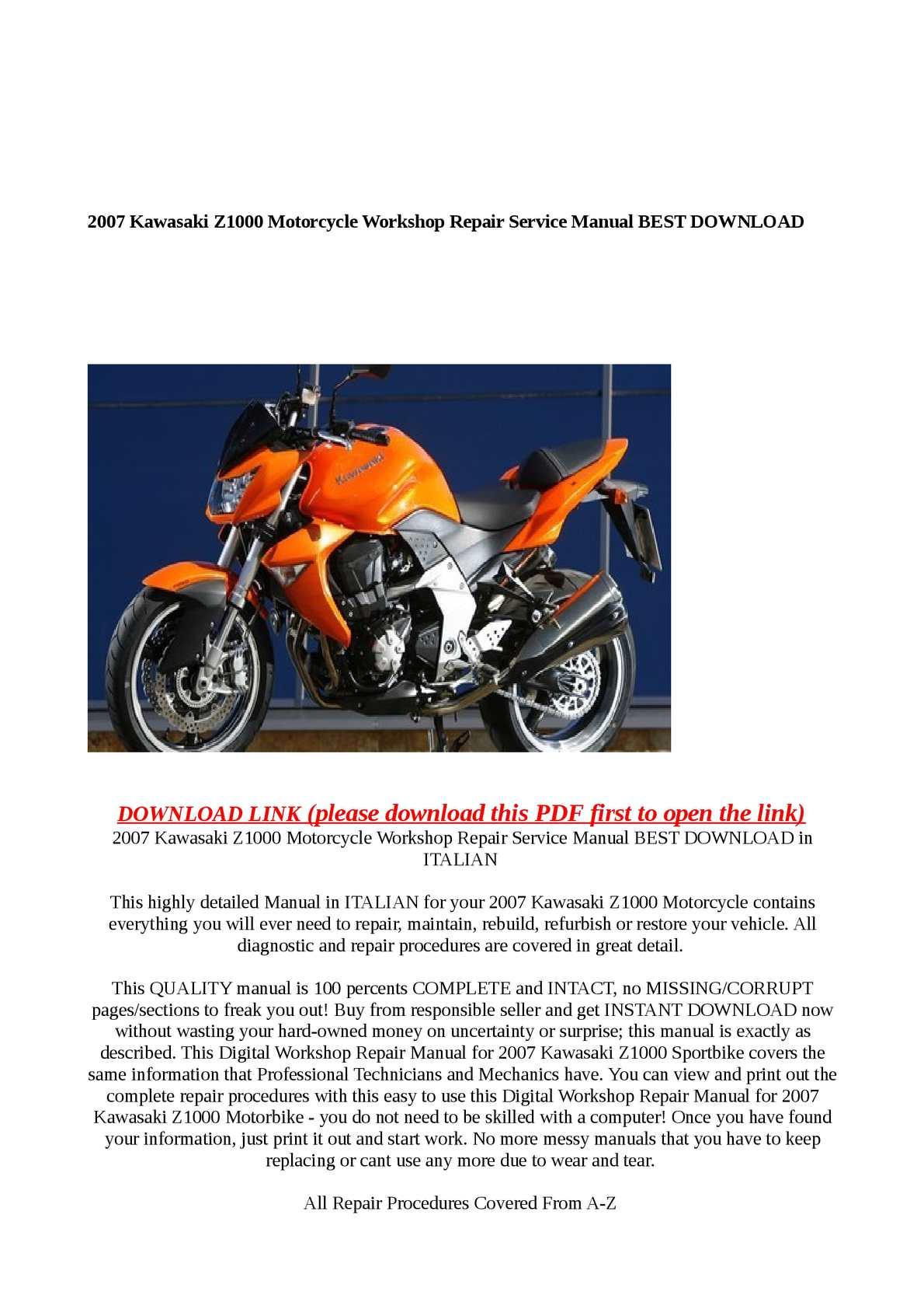 Calamo 2007 Kawasaki Z1000 Motorcycle Workshop Repair Servi Wiring Diagram