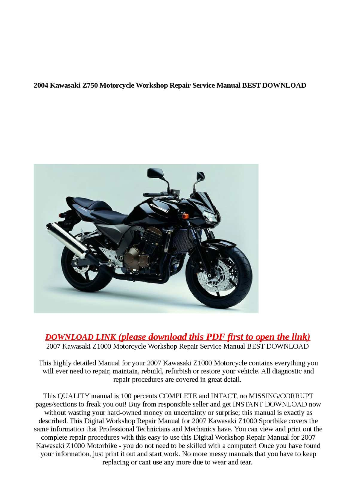 Calaméo - 2004 Kawasaki Z750 Motorcycle Workshop Repair Service Manual BEST  DOWNLOAD