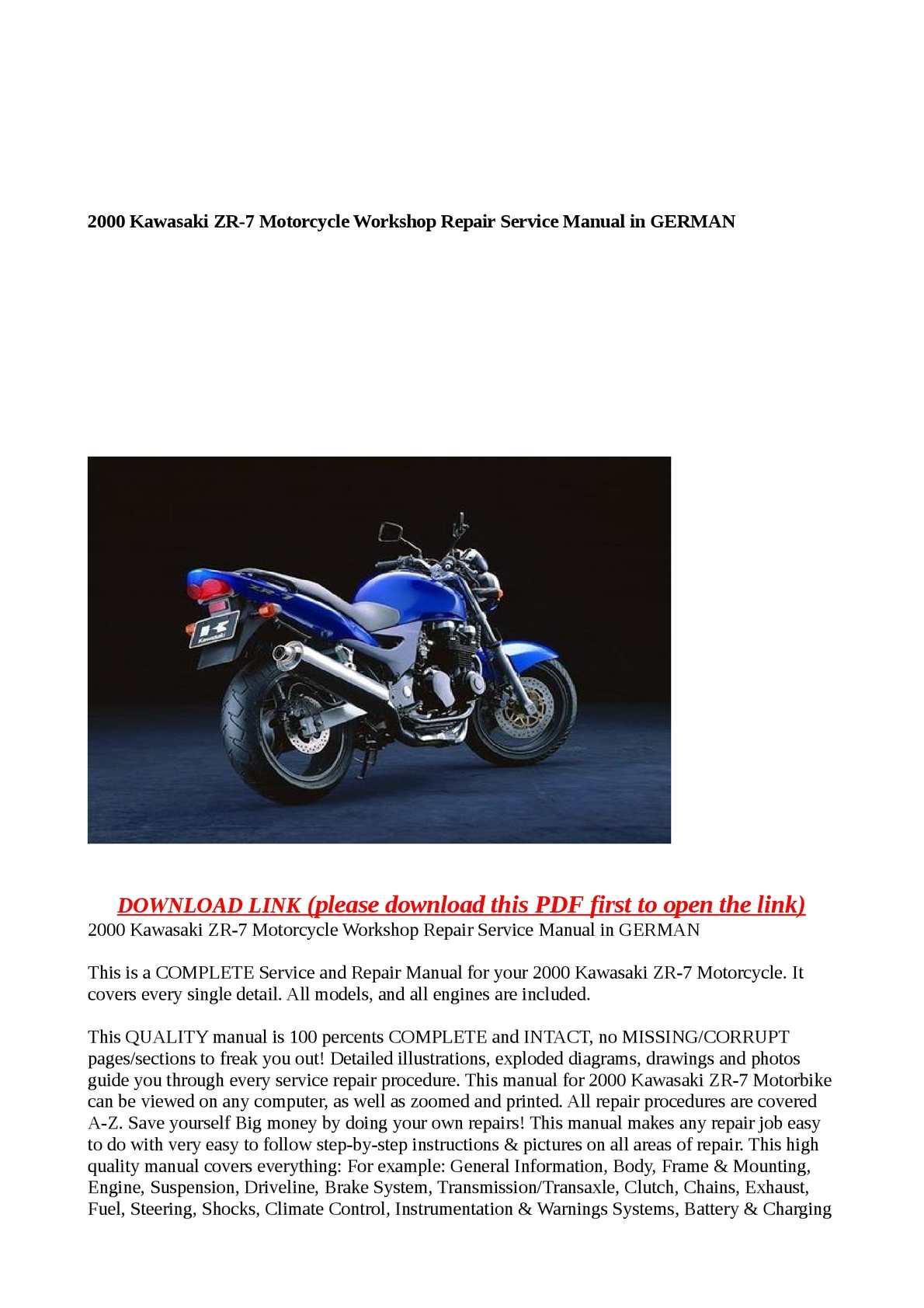 Calamo 2000 Kawasaki Zr 7 Motorcycle Workshop Repair Service 7s Wiring Diagram Manual In