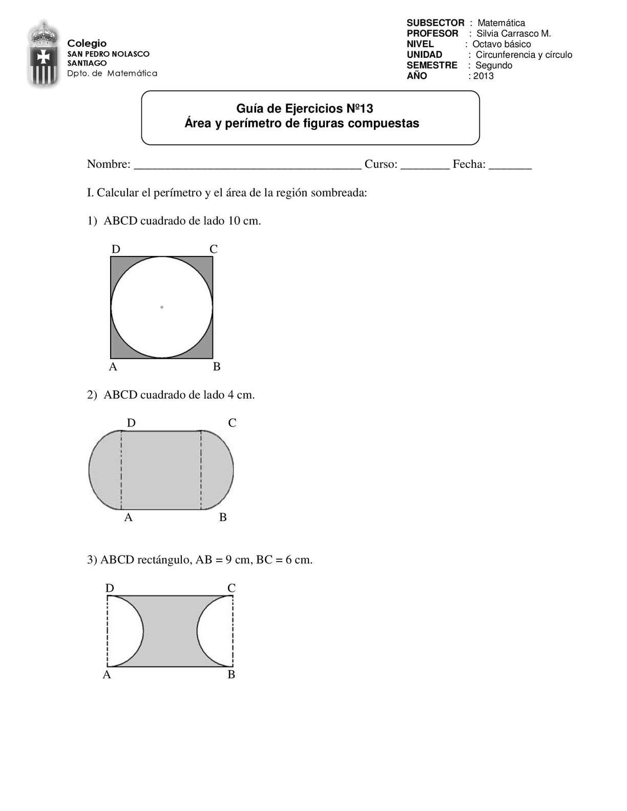 Guía Nº13 Área y perímetro de figuras compuestas.
