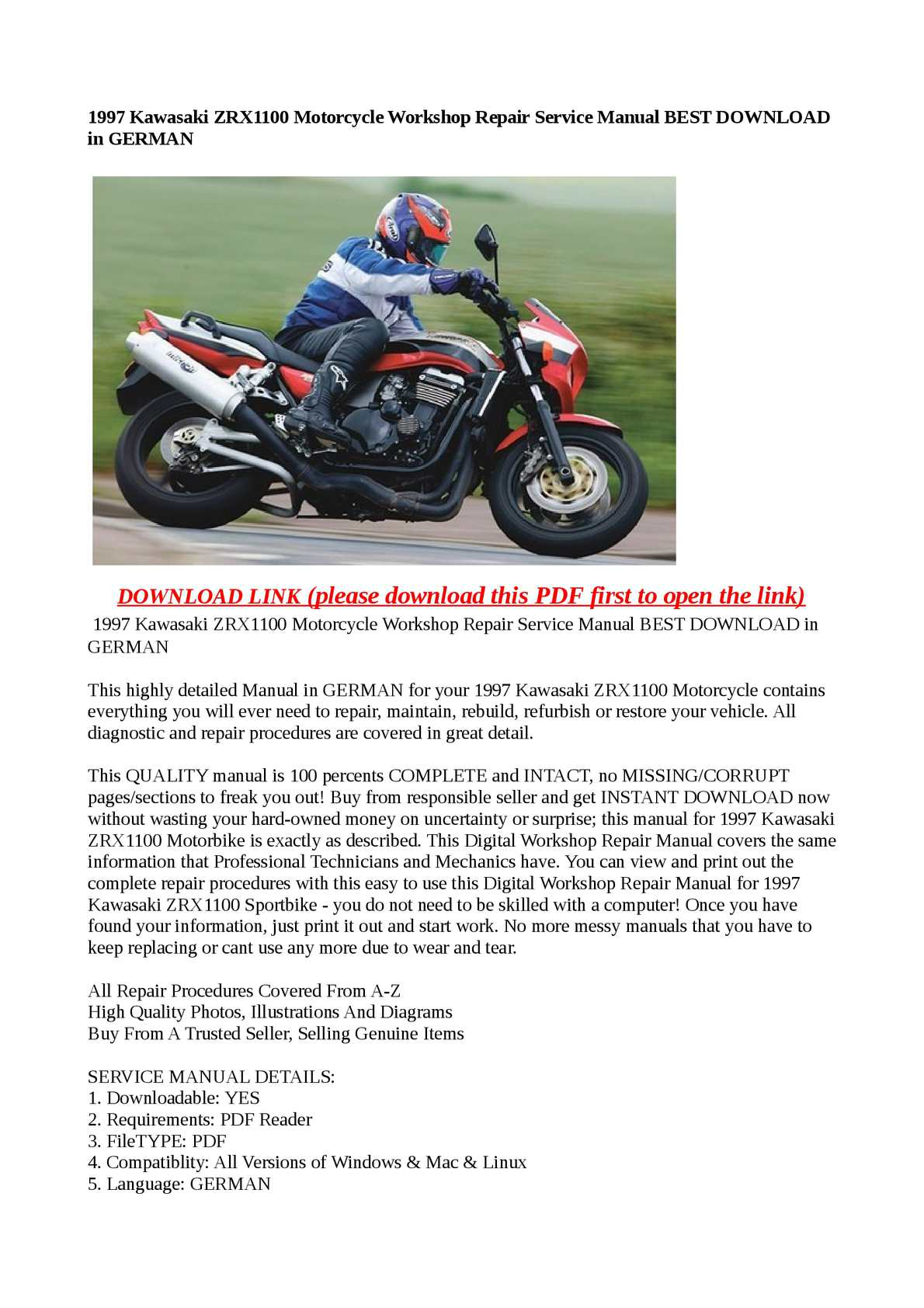 calam o 1997 kawasaki zrx1100 motorcycle workshop repair service rh calameo com kawasaki zrx 1100 service manual kawasaki zrx 1100 workshop manual