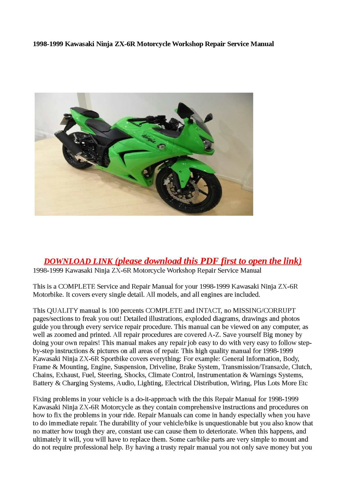Calaméo - 1998-1999 Kawasaki Ninja ZX-6R Motorcycle Workshop Repair Service  Manual