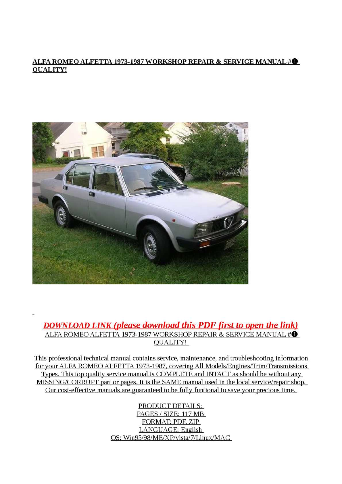 Calaméo - ALFA ROMEO ALFETTA 1973-1987 WORKSHOP REPAIR & SERVICE MANUAL #➀  QUALITY!