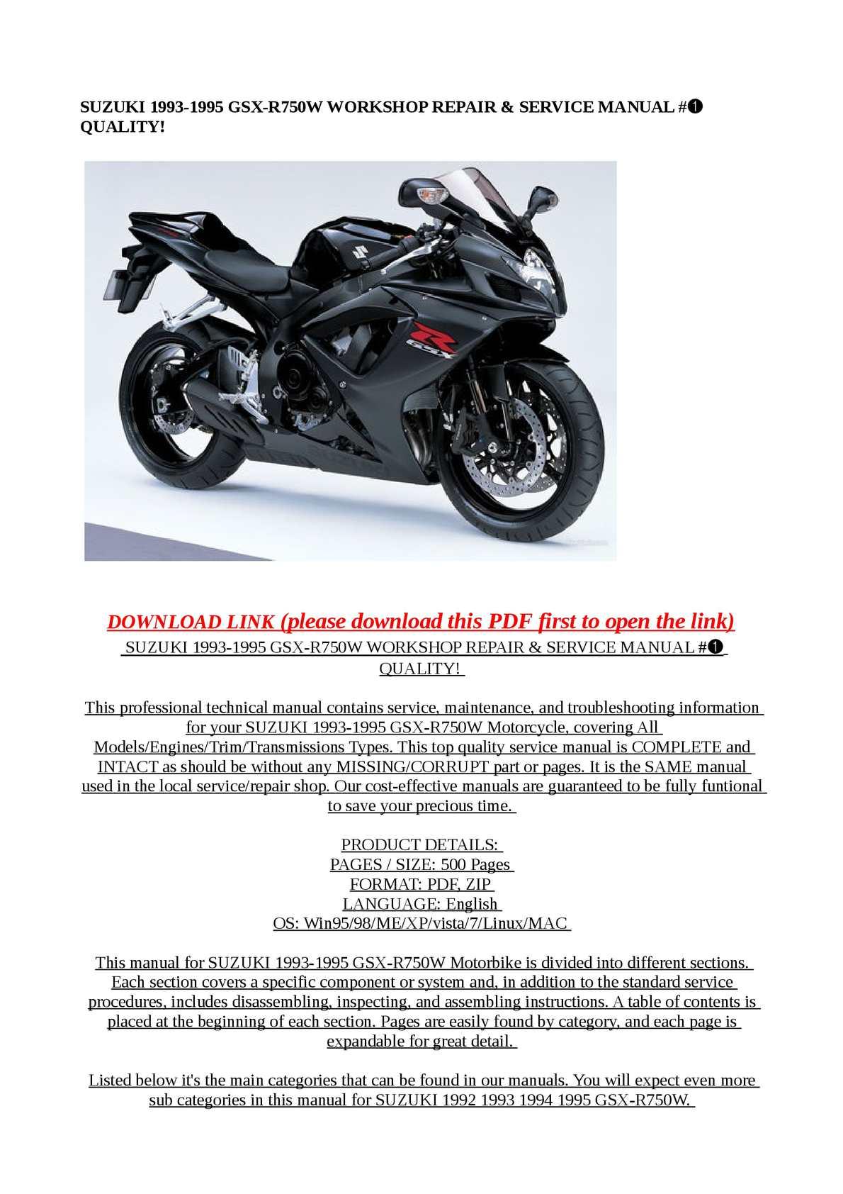 1993 1995 suzuki gsx r750w motorcycle service manual
