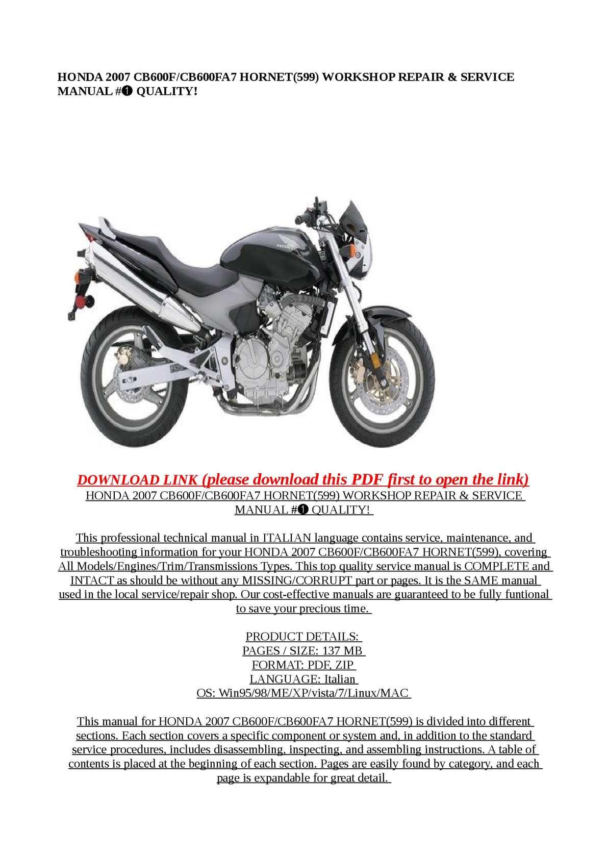 calam o honda 2007 cb600f cb600fa7 hornet 599 workshop repair rh calameo com honda 599 manual pdf honda 599 manual pdf