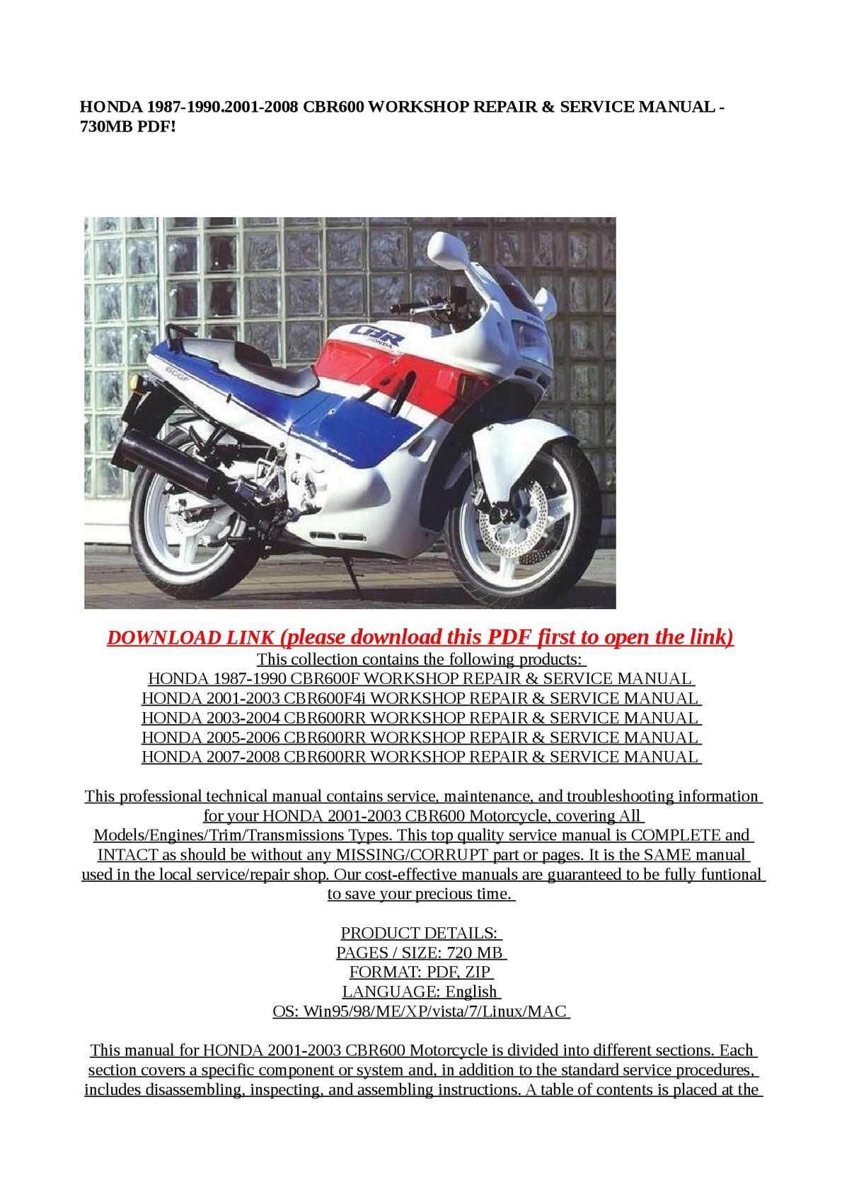 Calamo Honda 1987 19902001 2008 Cbr600 Workshop Repair Serv 2005 Cbr 600 Rr Color Wiring Diagram