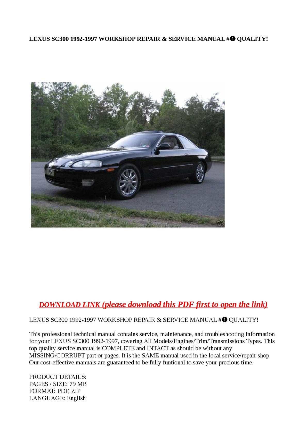 1992 lexus sc400 repair manual pdf