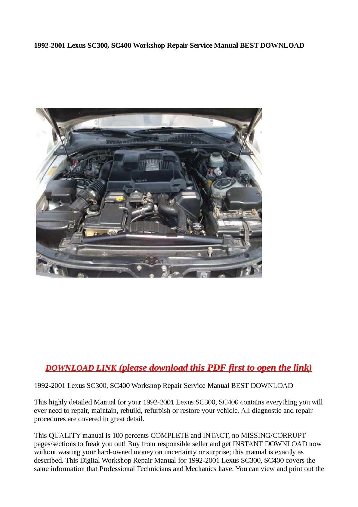 Calamo 1992 2001 Lexus Sc300 Sc400 Workshop Repair Service Manual Be Wiring Diagram Pdf