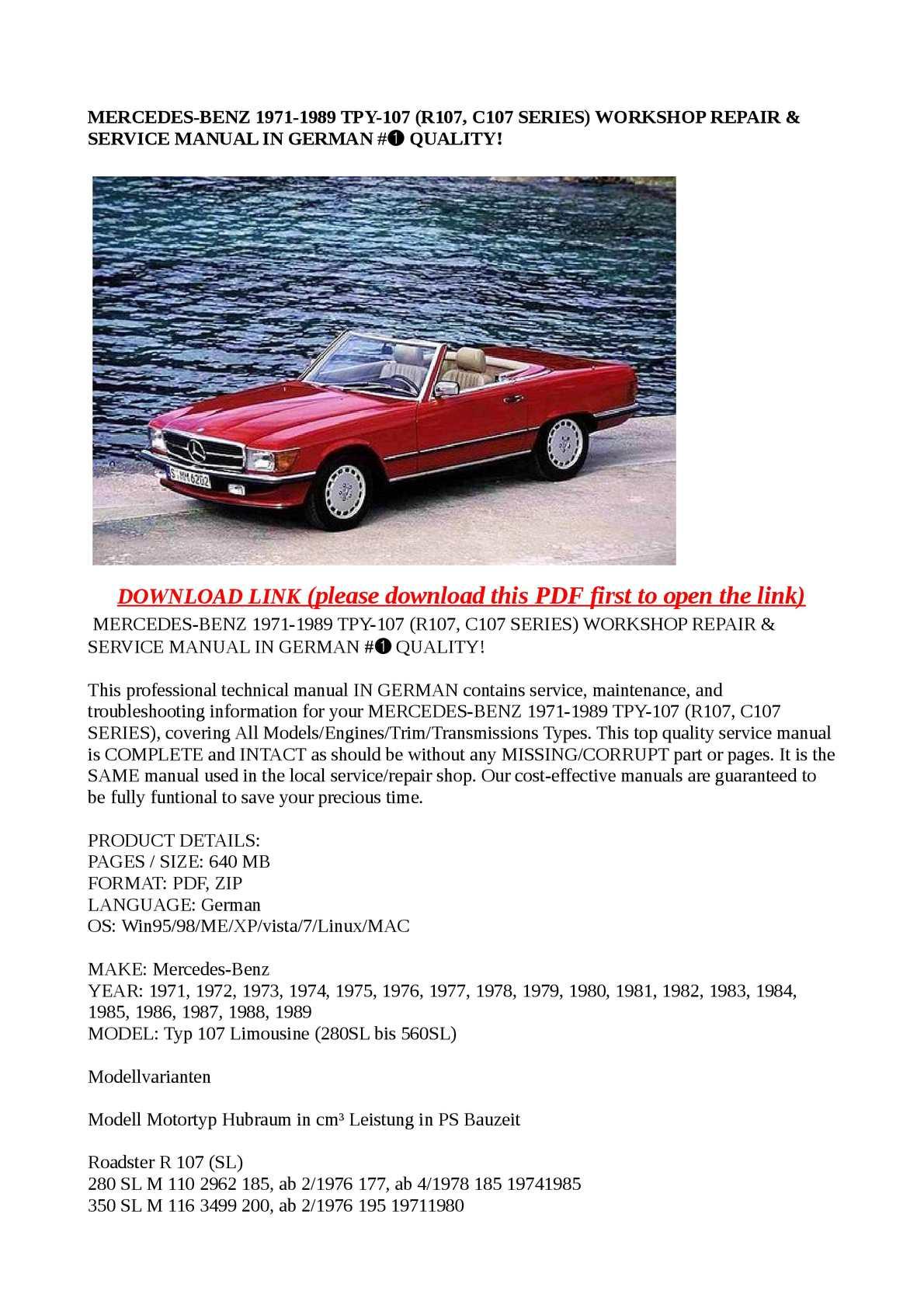 Calam o mercedes benz 1971 1989 tpy 107 r107 c107 for Mercedes benz workshop manuals