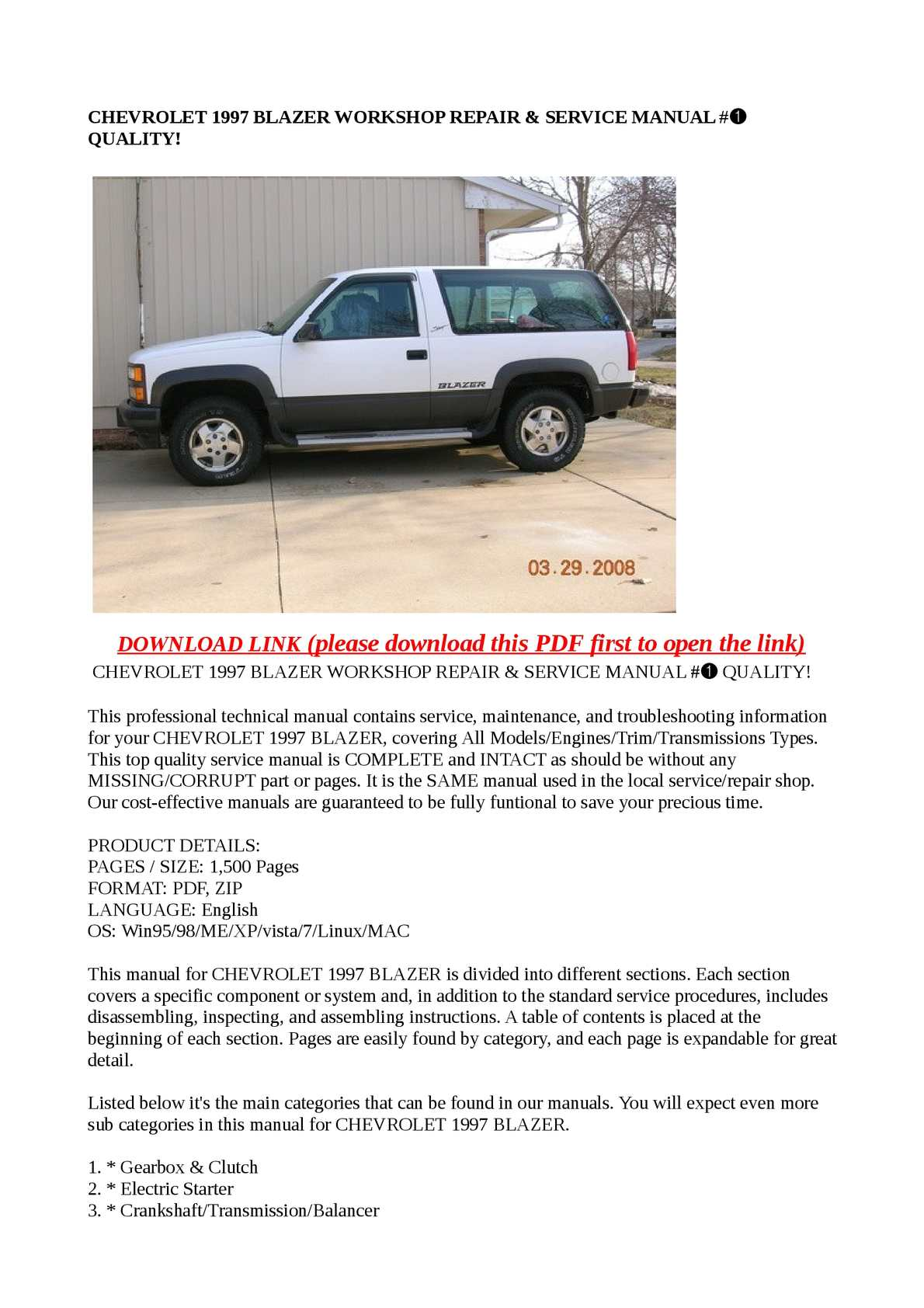 Calaméo - CHEVROLET 1997 BLAZER WORKSHOP REPAIR & SERVICE MANUAL #➀ QUALITY!