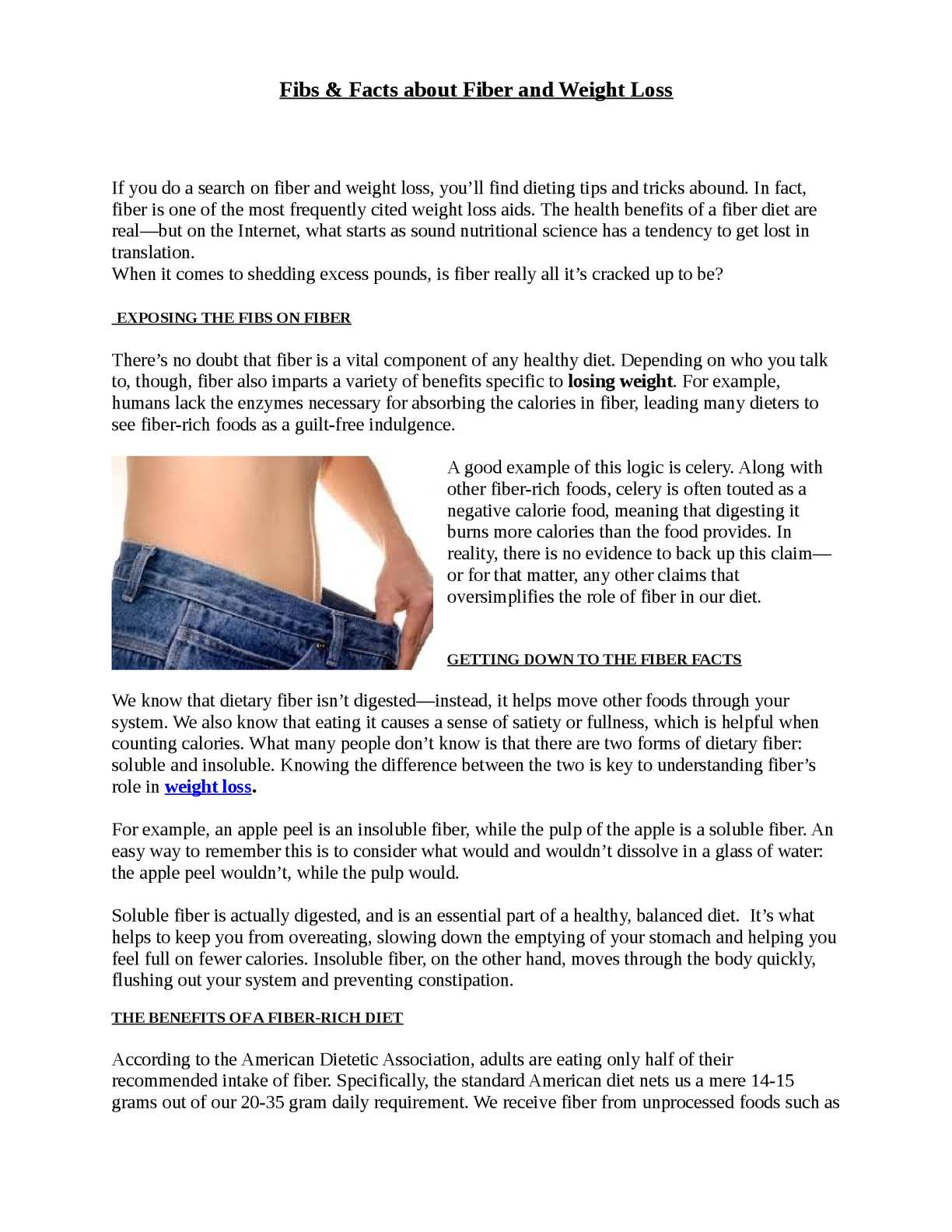 Calameo Fibs Facts About Fiber And Weight Loss