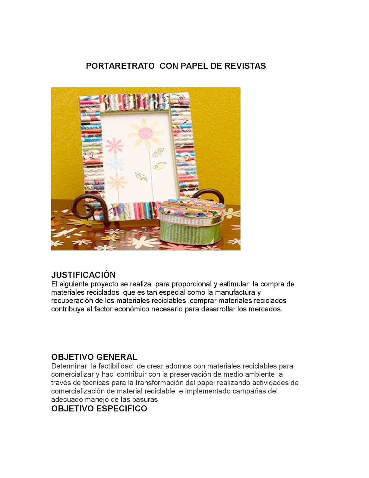 PORTARETRATO  CON PAPEL DE REVISTAS