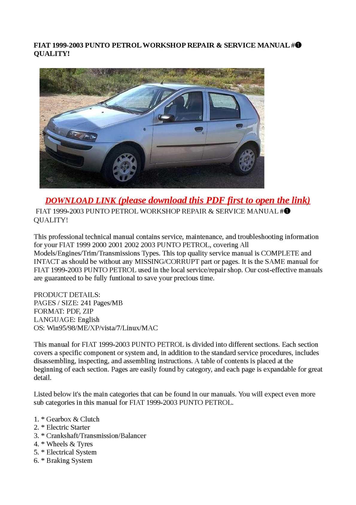Fiat Punto Manual Clutch Suzuki Gsf1200s 1996 8211 1999 Electrical Wiring Diagram Array Calam O 2003 Petrol Workshop Repair U0026 Service Rh