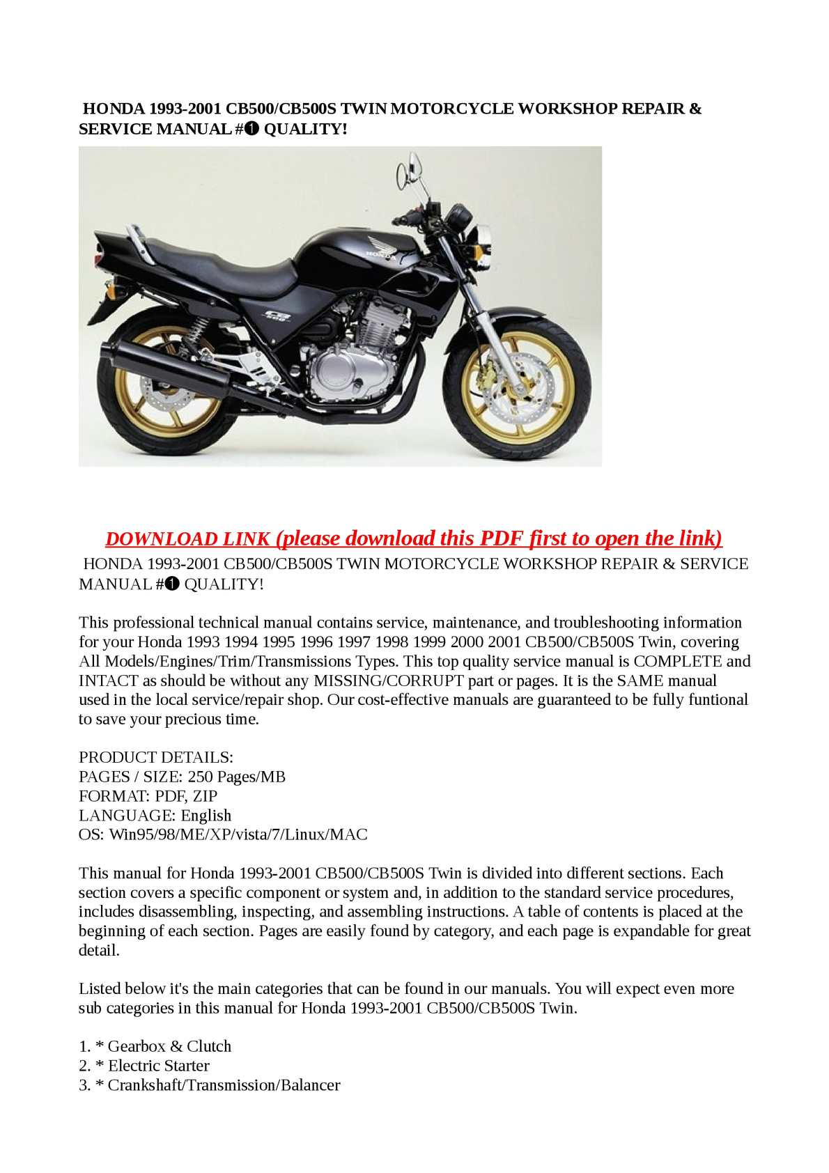 Calaméo - HONDA 1993-2001 CB500/CB500S TWIN MOTORCYCLE WORKSHOP REPAIR & SERVICE MANUAL # QUALITY!