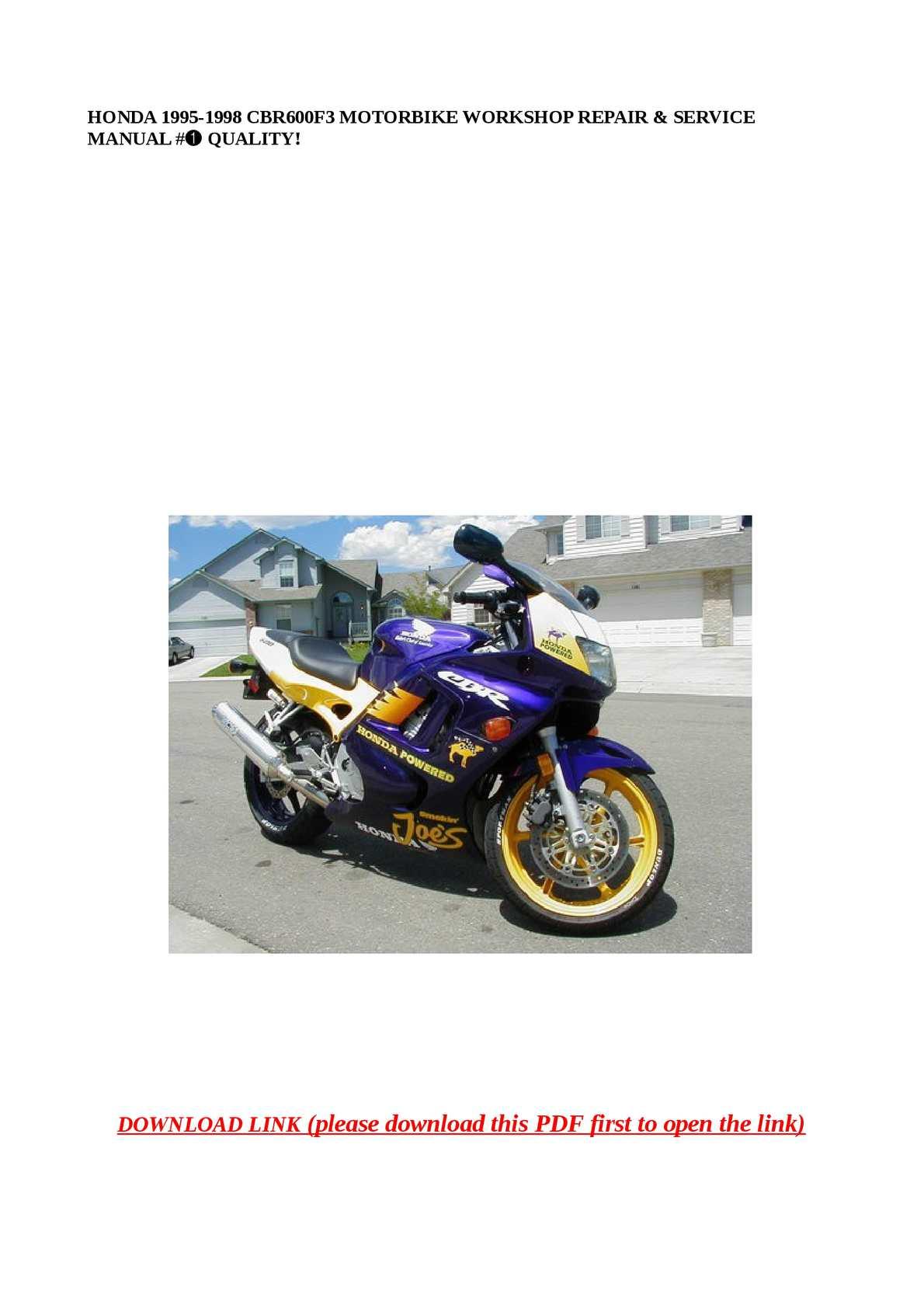 Calaméo - HONDA 1995-1998 CBR600F3 MOTORBIKE WORKSHOP REPAIR & SERVICE  MANUAL #➀ QUALITY!