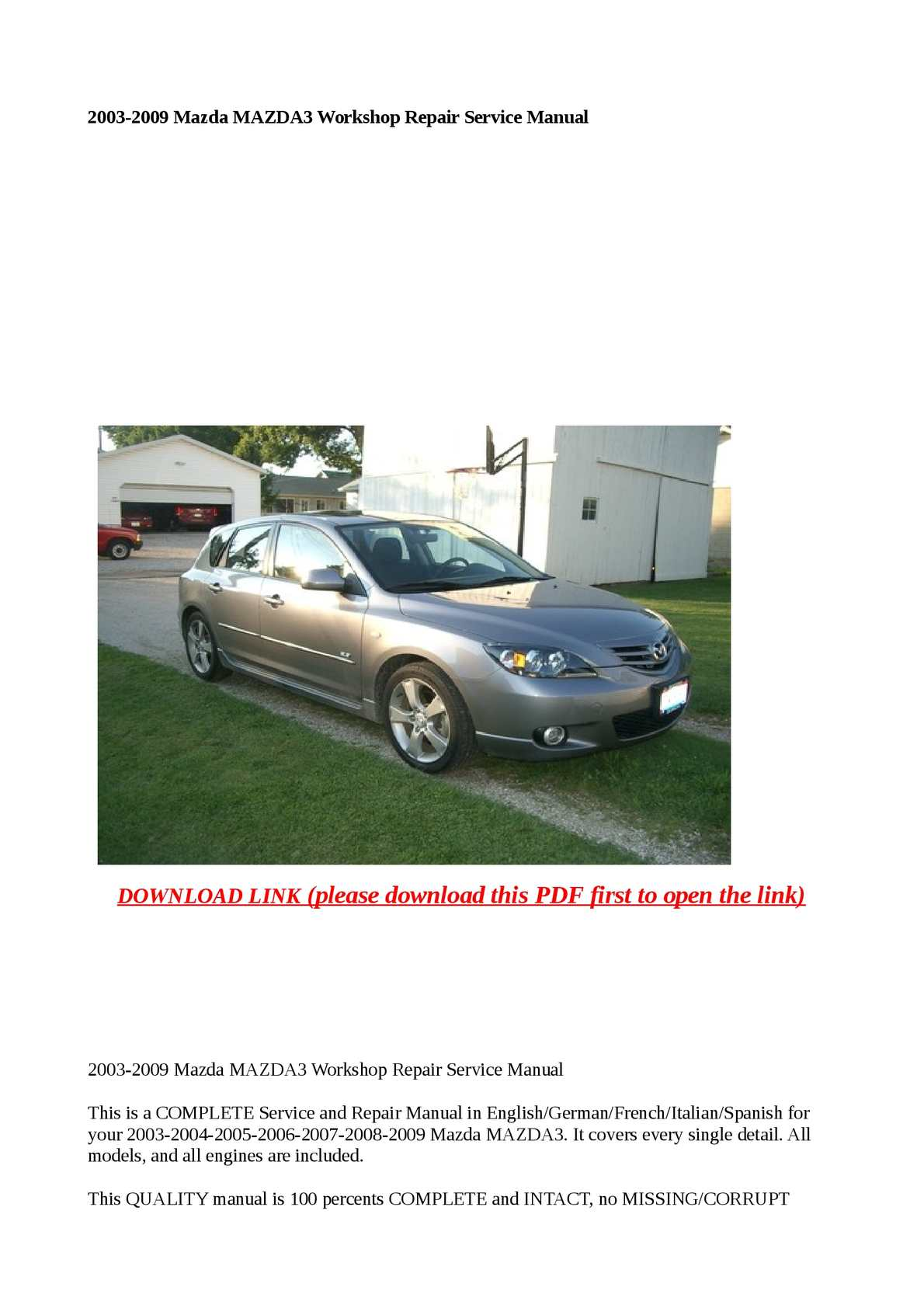 Mazda 3 Service Manual: Engine