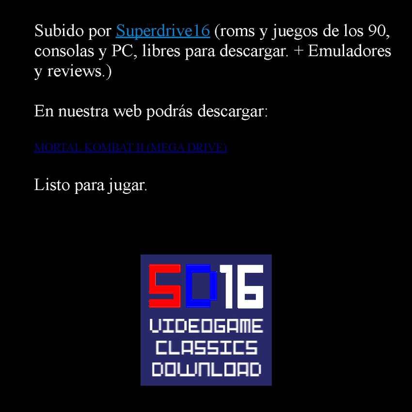 Mortal Kombat II Super Nintendo manual de instrucciones