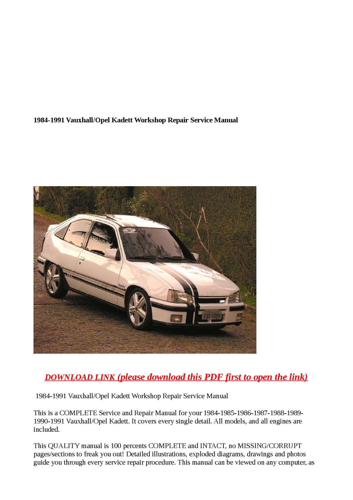 Calamo 1984 1991 Vauxhall Opel Kadett Workshop Repair Service Manual Vacuum Diagram