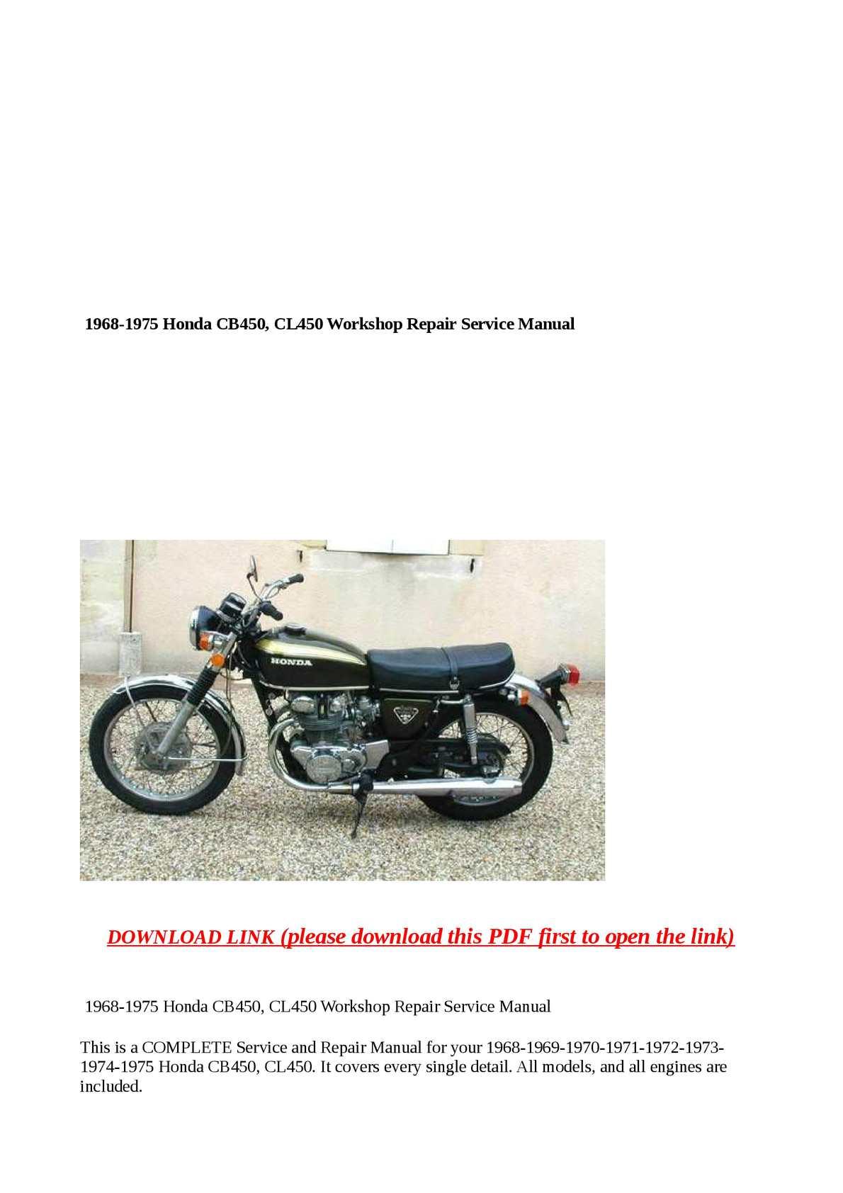 calam o 1968 1975 honda cb450 cl450 workshop repair service manual rh calameo com honda cb450 manual pdf honda cb450 shop manual