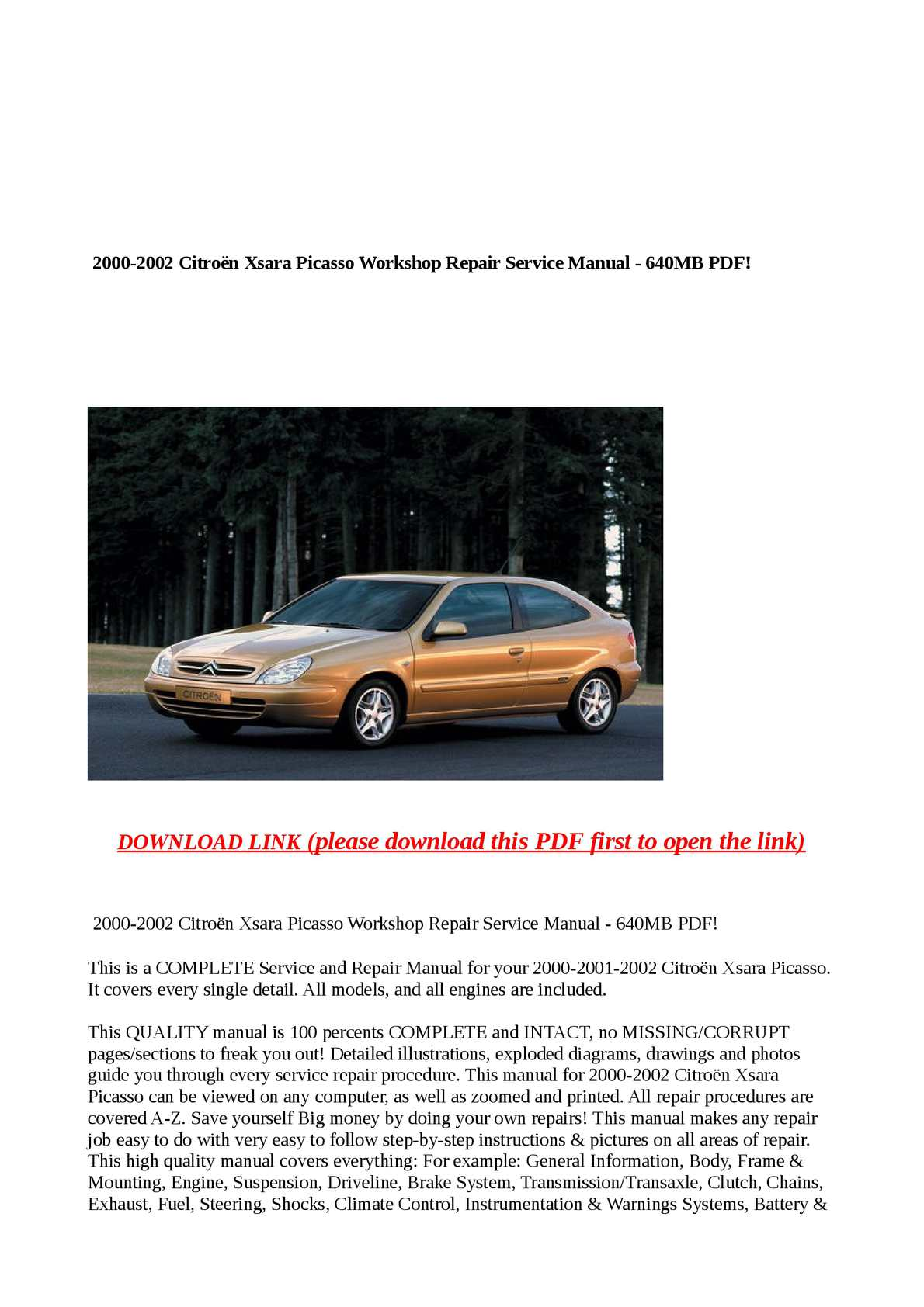 Calaméo - 2000-2002 Citroën Xsara Picasso Workshop Repair Service Manual - 6