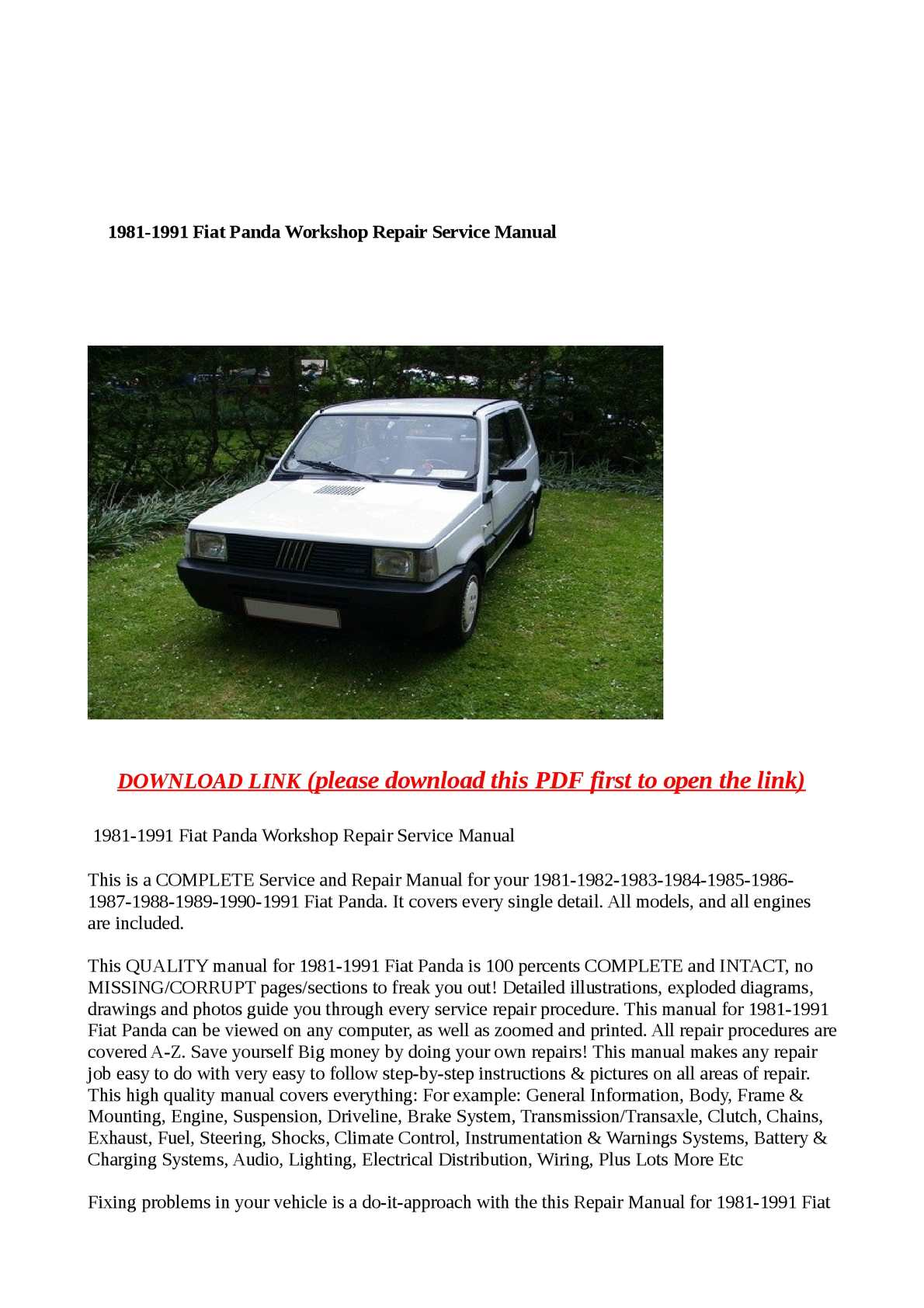 Calamo 1981 1991 Fiat Panda Workshop Repair Service Manual Hyundai Pony Wiring Diagram