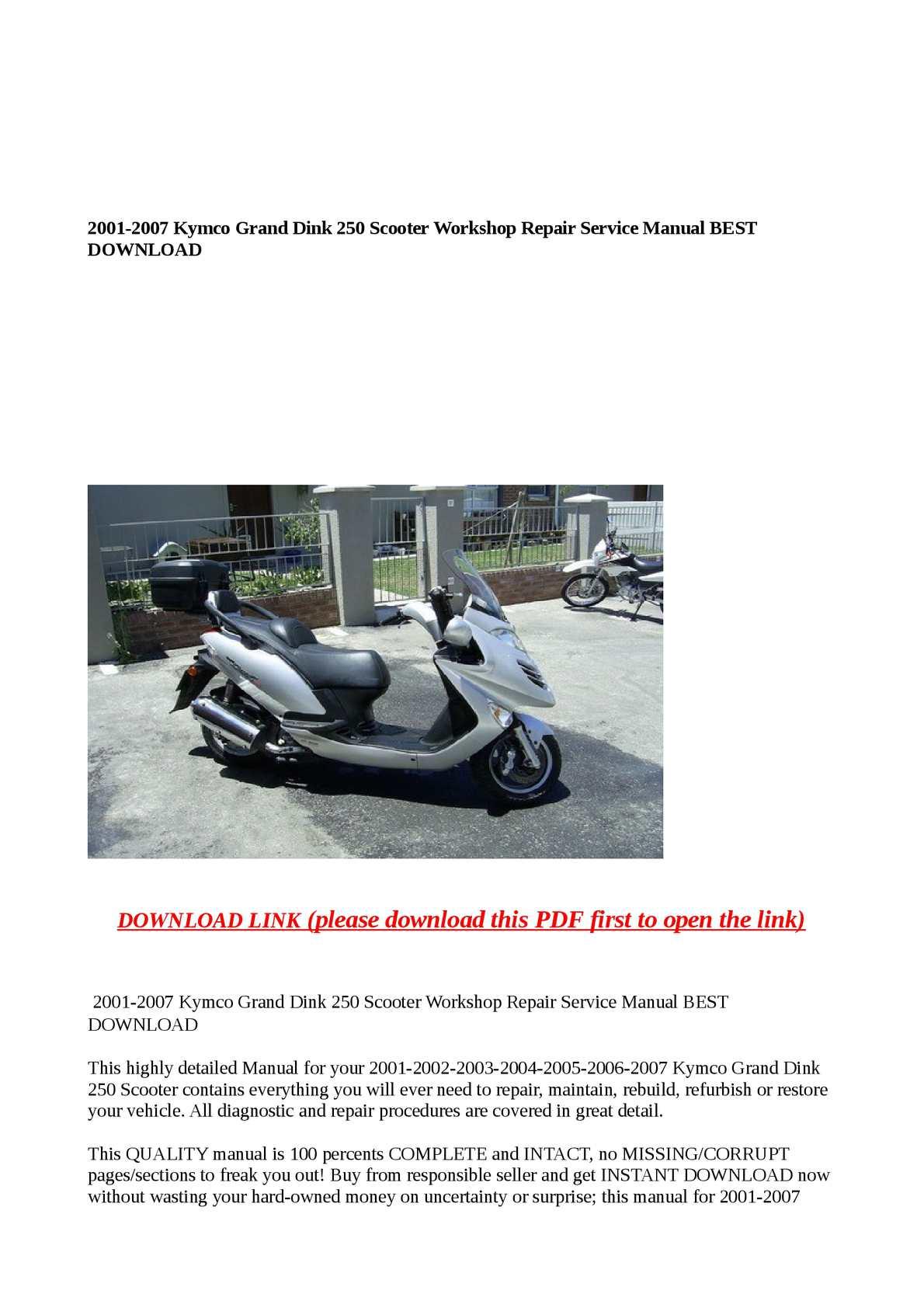kymco grand dink 250 service reapair workshop manual download