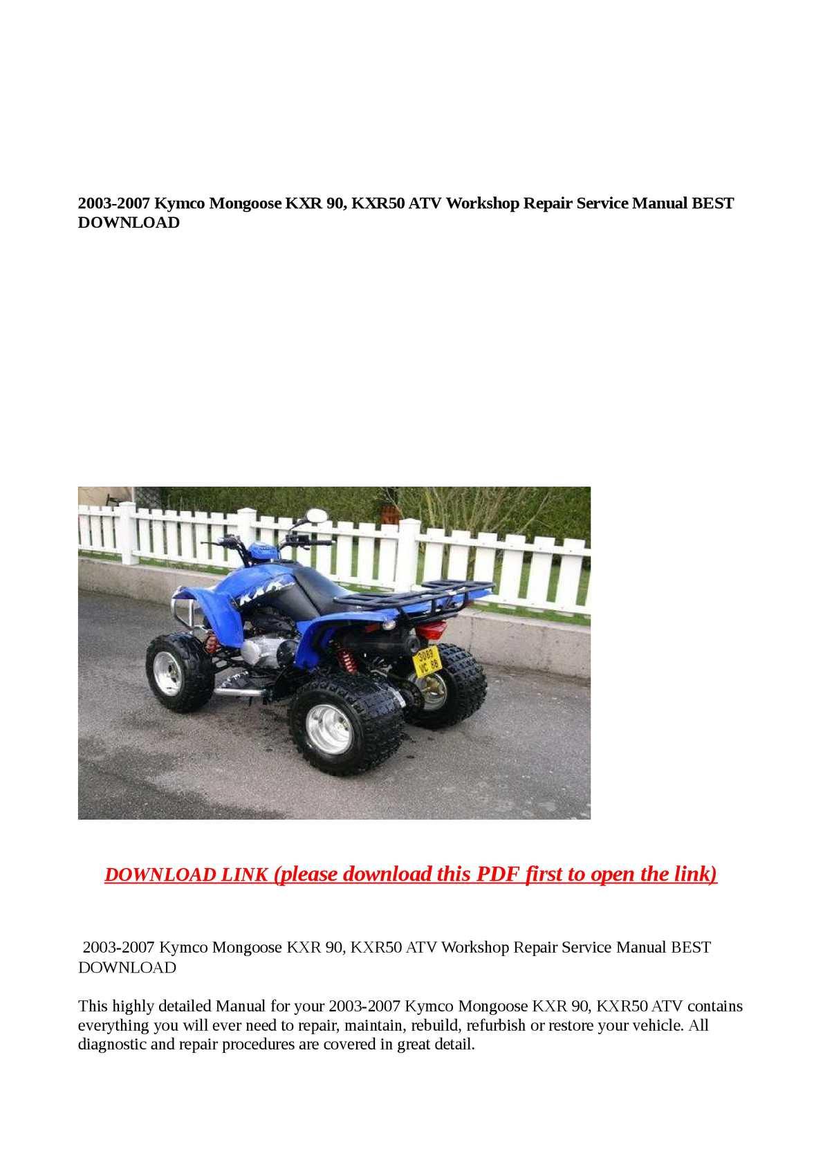 Calaméo - 2003-2007 Kymco Mongoose KXR 90, KXR50 ATV Workshop Repair  Service Manual BEST DOWNLOAD