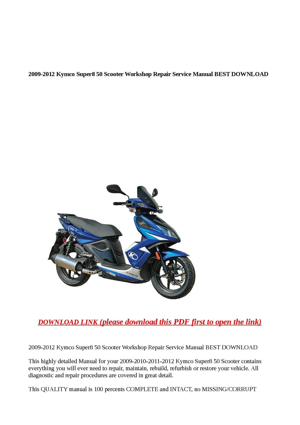 Calaméo - 2009-2012 Kymco Super8 50 Scooter Workshop Repair Service Manual  BEST DOWNLOA