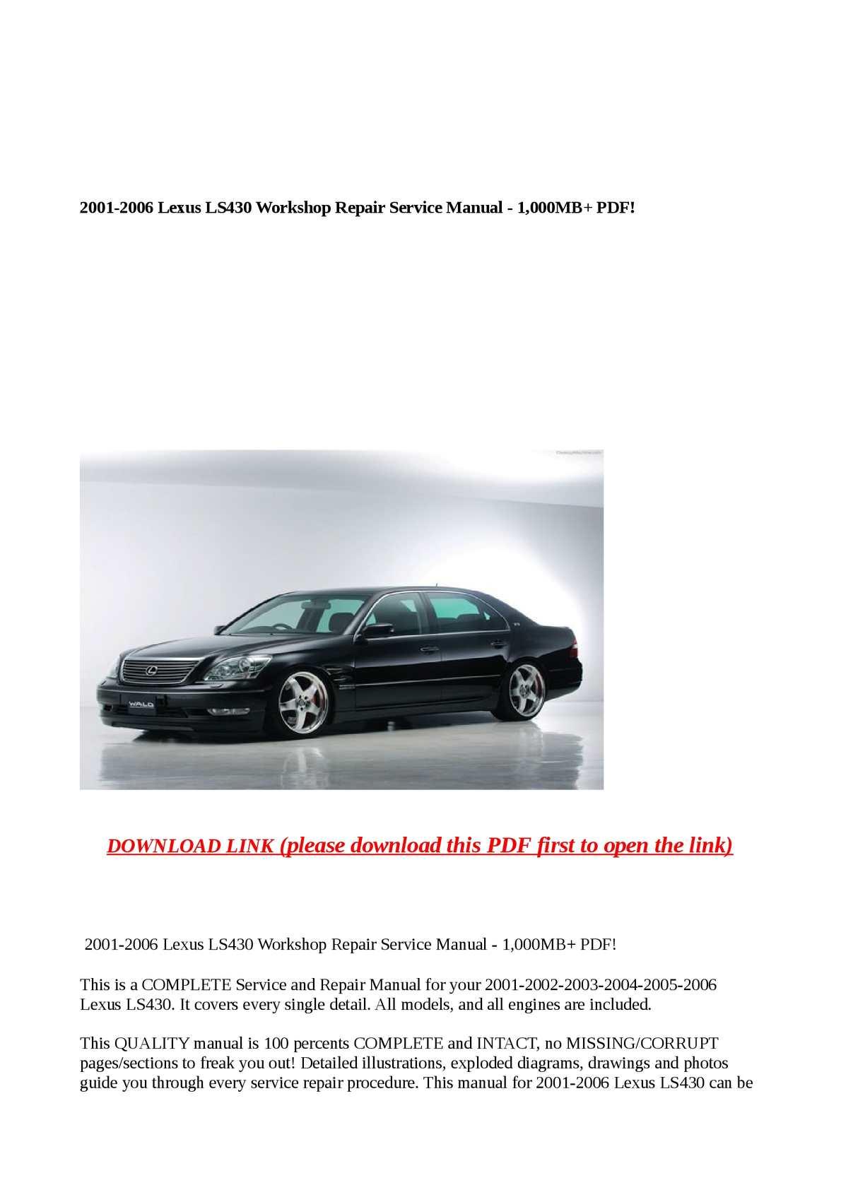 calam o 2001 2006 lexus ls430 workshop repair service manu rh calameo com 2001 Lexus LS430 Parts 2001 lexus ls430 service manual