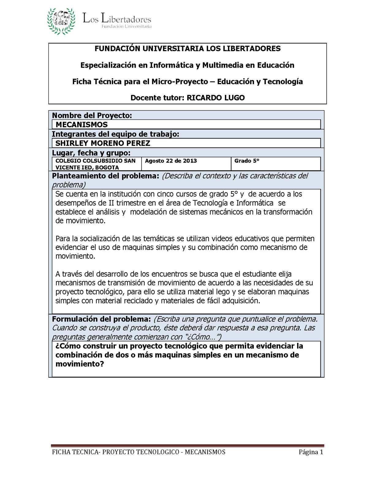 Calaméo - PROYECTO TECNOLOGICO MECANISMOS