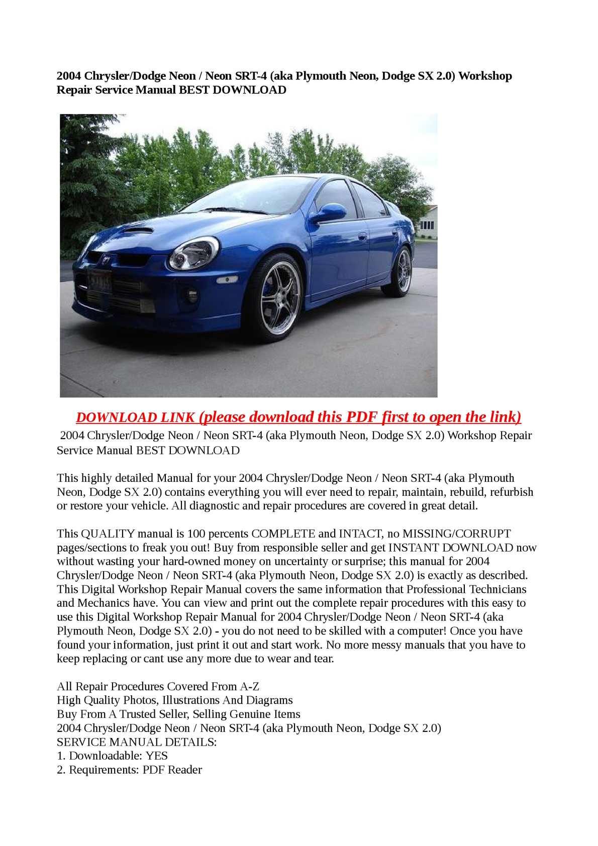 Calamo 2004 Chrysler Dodge Neon Srt 4 Aka Plymouth Repair Diagrams Sx 20 Workshop Service Manual Best Download