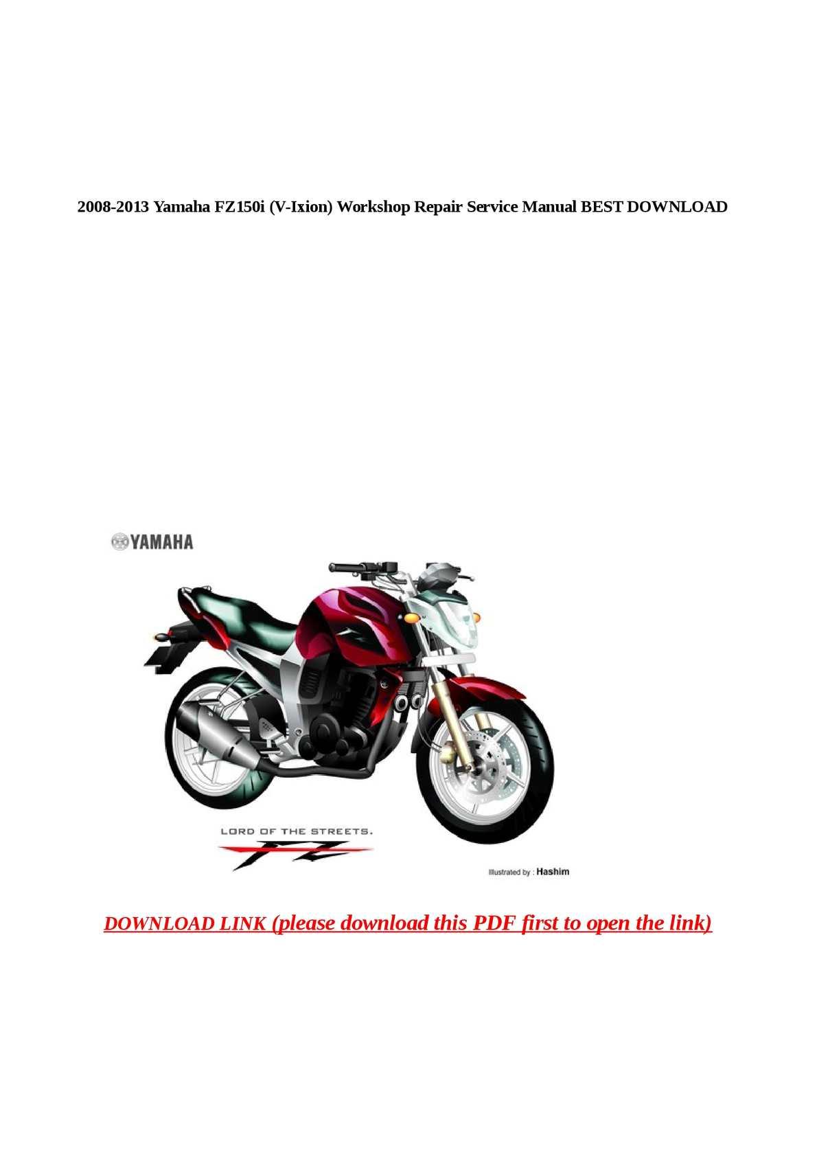 Calam o 2008 2013 yamaha fz150i v ixion workshop repair service manual