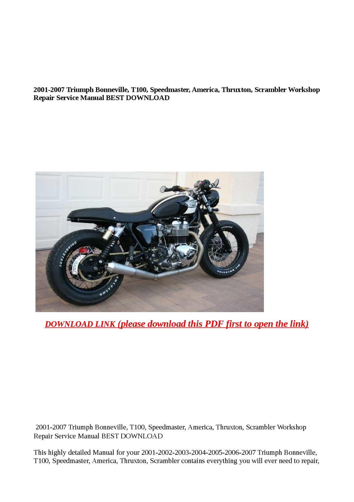 triumph bonneville maintenance manual