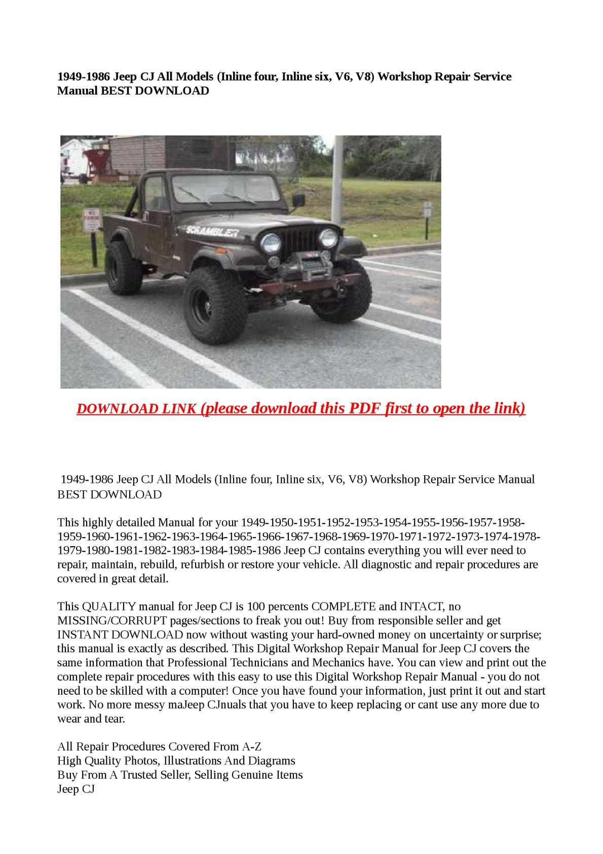 Calamo 1949 1986 Jeep Cj All Models Inline Four Six V6 1974 Series 3 Land Rover Wiring Diagram V8 Wor