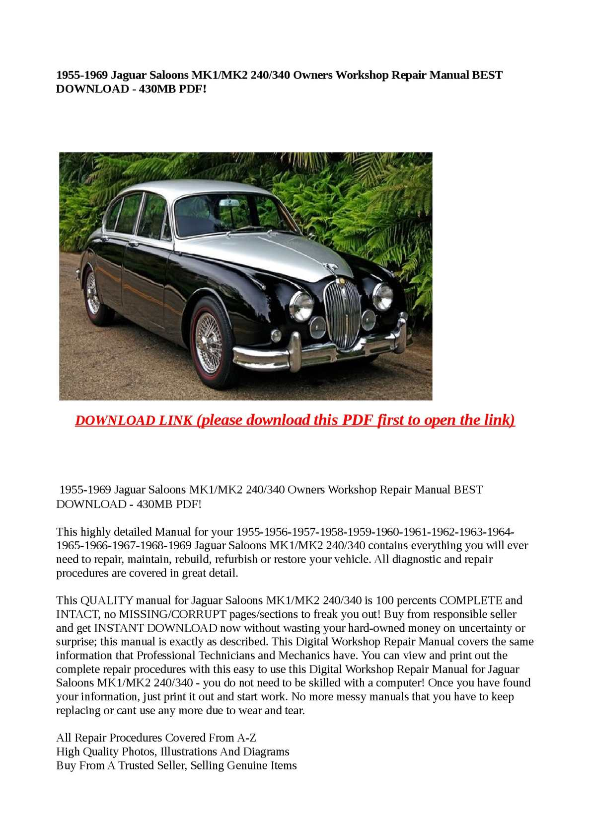 Jaguar Mk2 Wiring Diagram Download Schematics Diagrams Xjs Calam O 1955 1969 Saloons Mk1 240 340 Owners Works Rh Calameo Com Guitar Fender