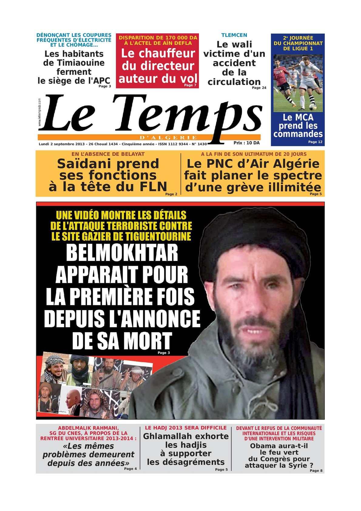 Calameo Le Temps D Algerie Edtion Du Lundi Eer Septembre 2013