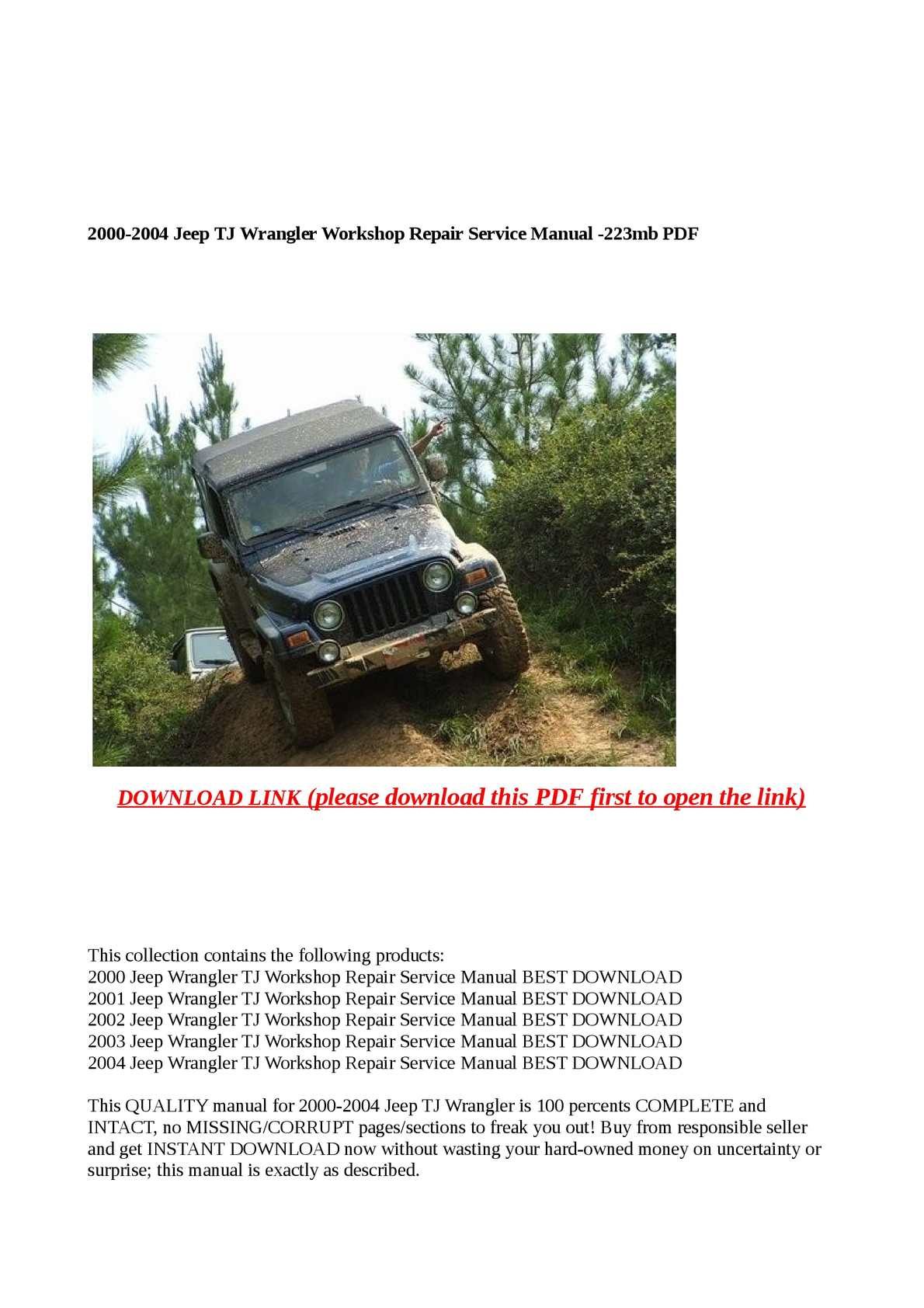 Calaméo - 2000-2004 Jeep TJ Wrangler Workshop Repair Service Manual -223m