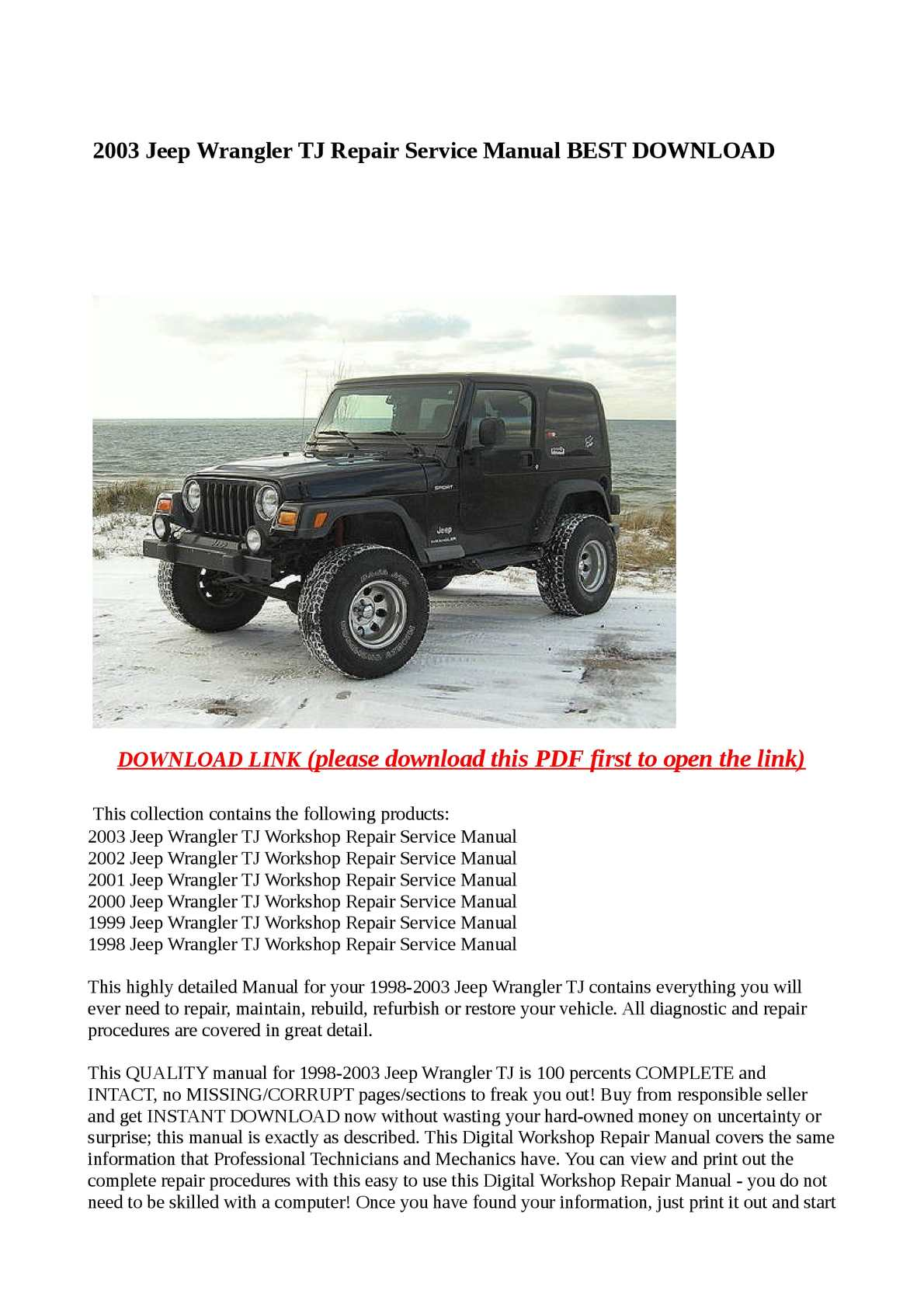 calam o 2003 jeep wrangler tj repair service manual best download rh calameo com 2002 jeep wrangler parts manual 2002 Jeep Wrangler Sport