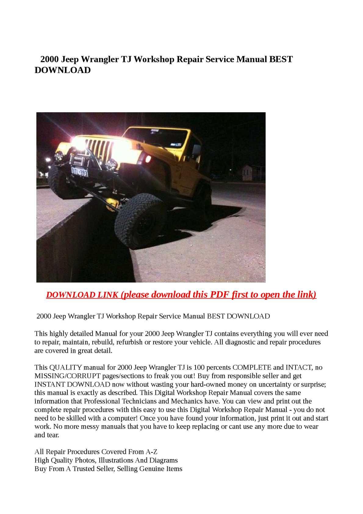 jeep wrangler service pdf