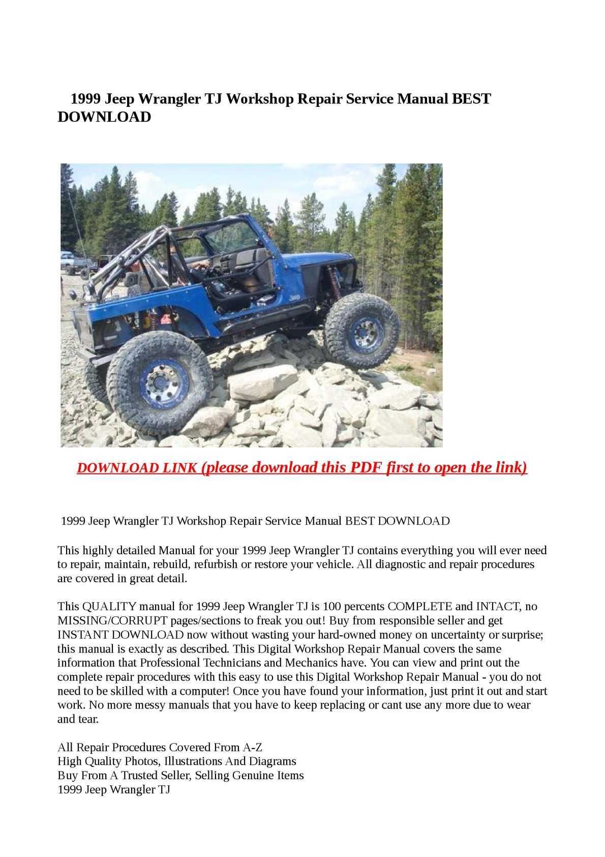 Calaméo - 1999 Jeep Wrangler TJ Workshop Repair Service Manual BEST DOWNLOAD