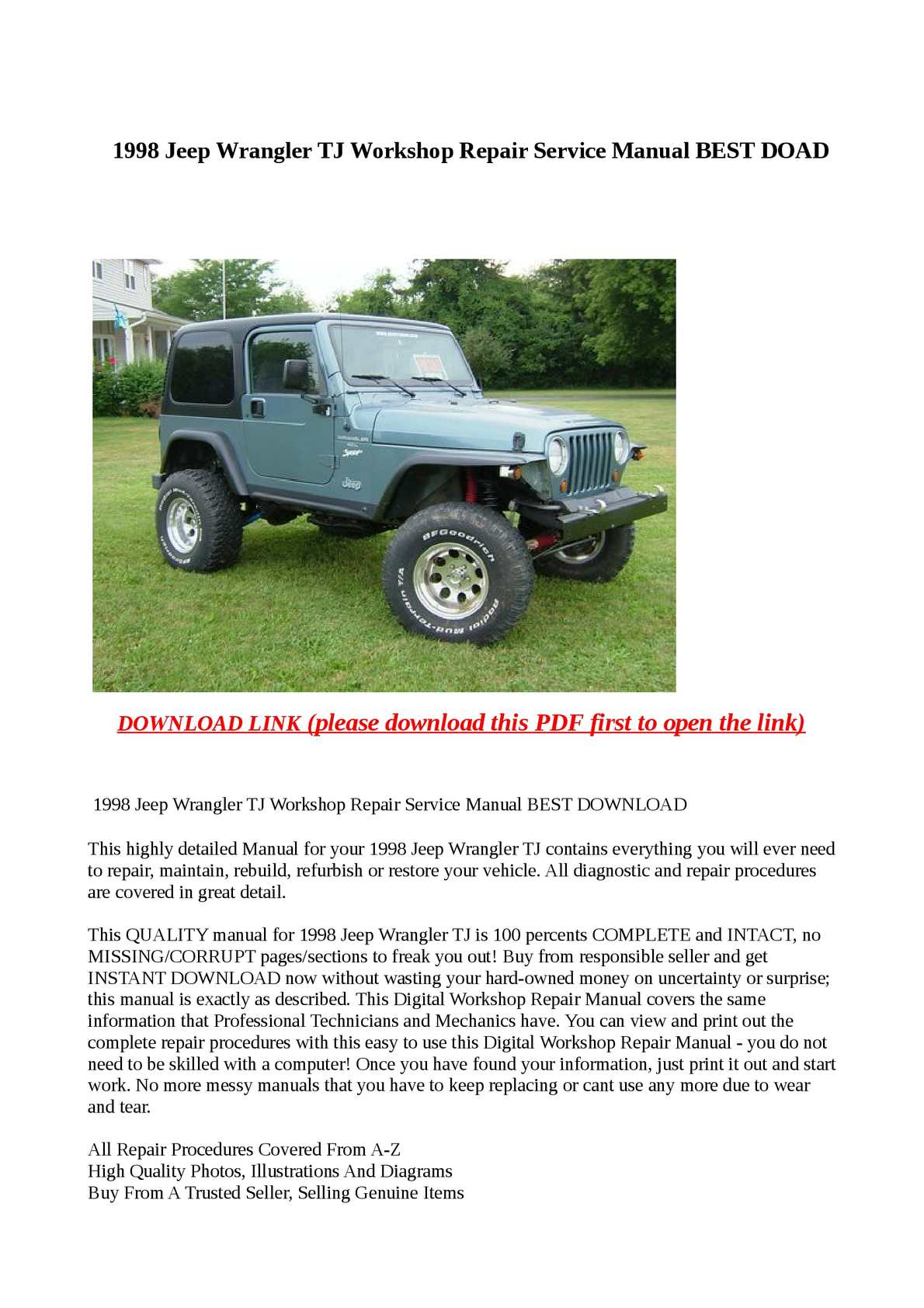 Calamo 1998 Jeep Wrangler Tj Workshop Repair Service Manual Best Doad Hardtop For Wiring Diagram