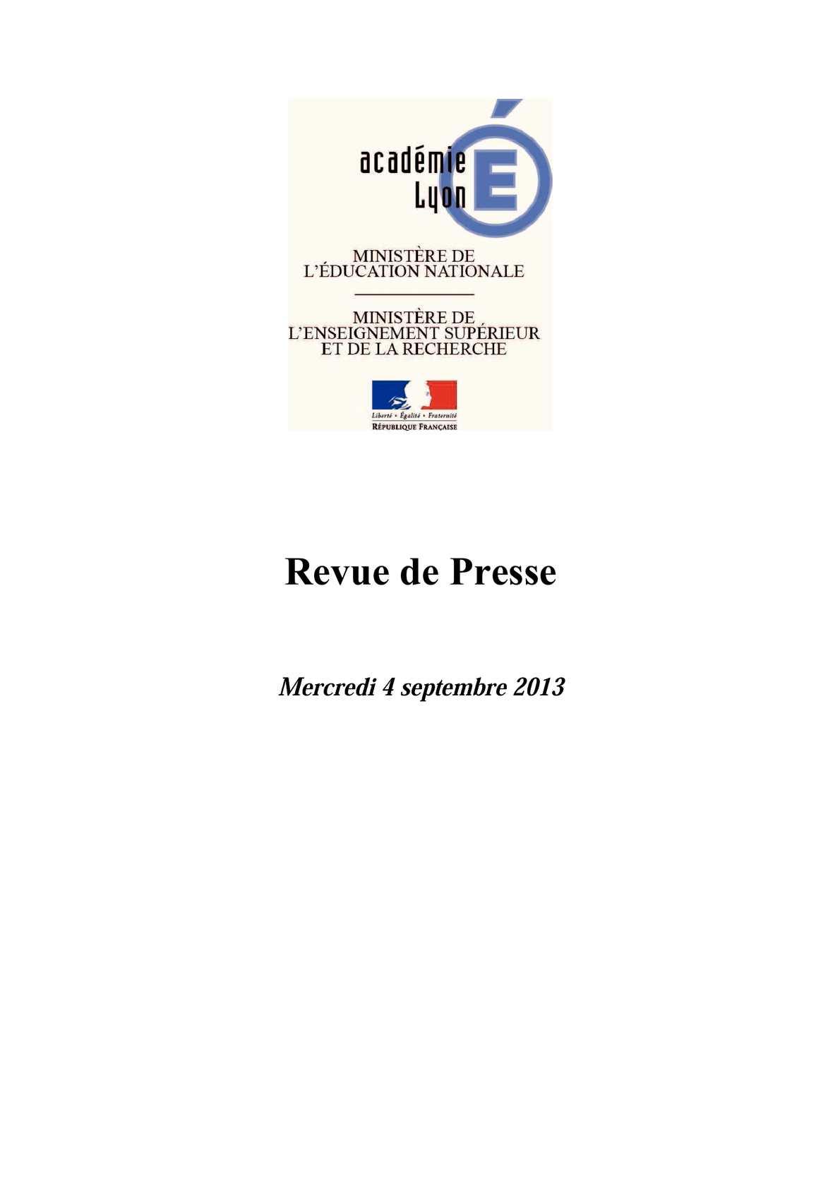 Calaméo Revue de presse du mercredi 4 septembre 2013