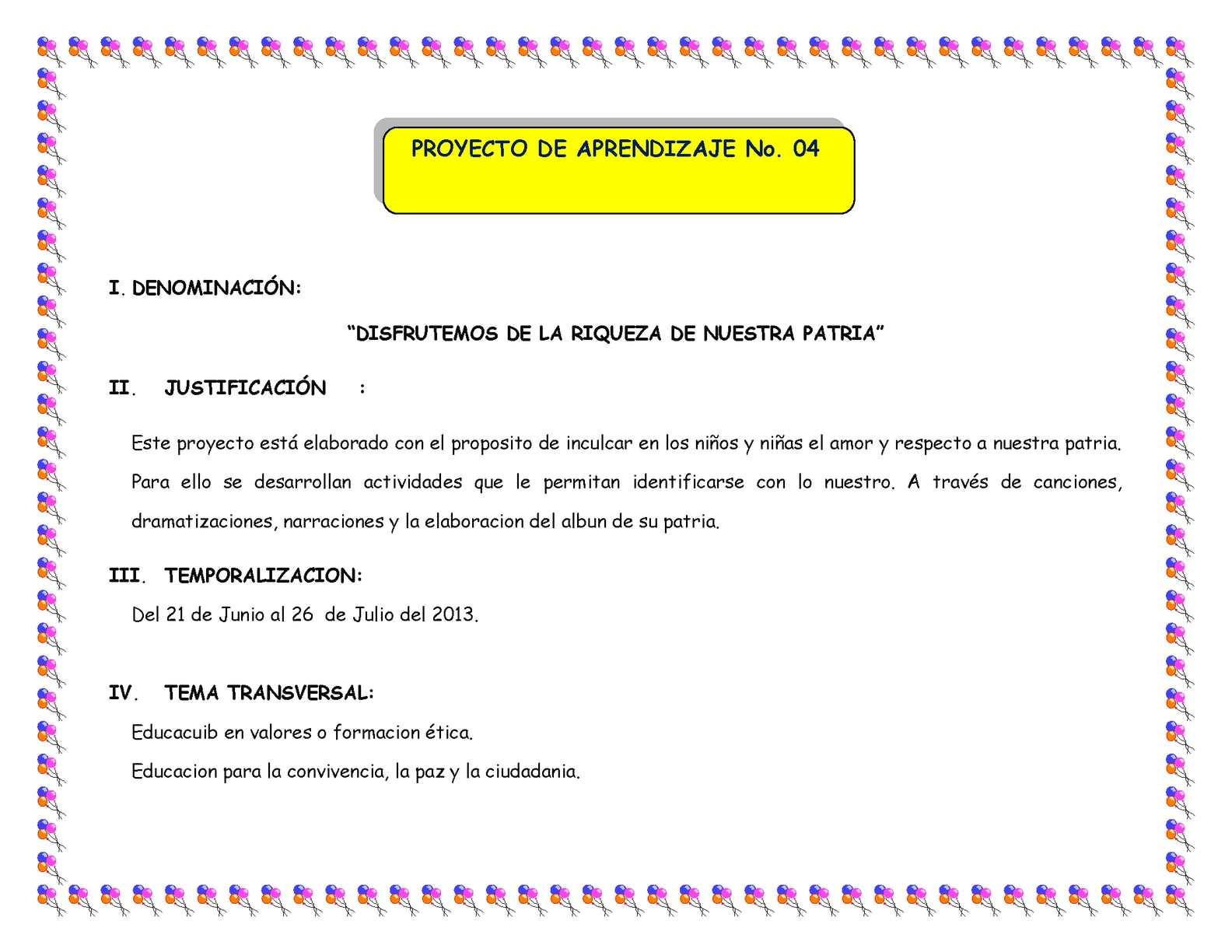 PROYECTO DE APRENDIZAJE No.4-JULIO amor
