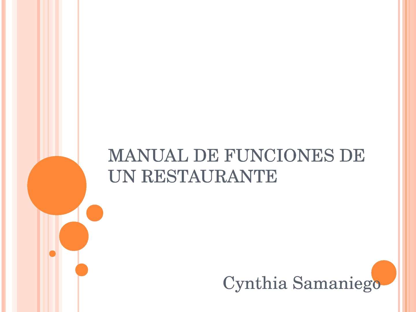 Calam o manual de funciones de un restaurante for Manual de procedimientos de un restaurante